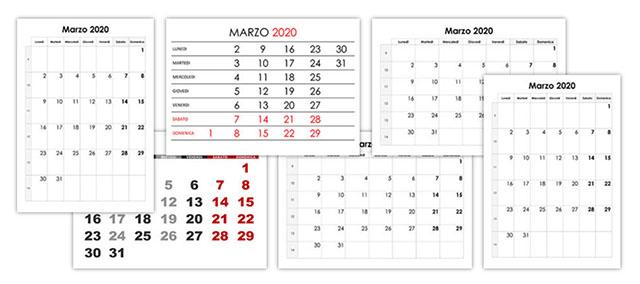 Calendario Marzo 2020.Marzo Calendario Su