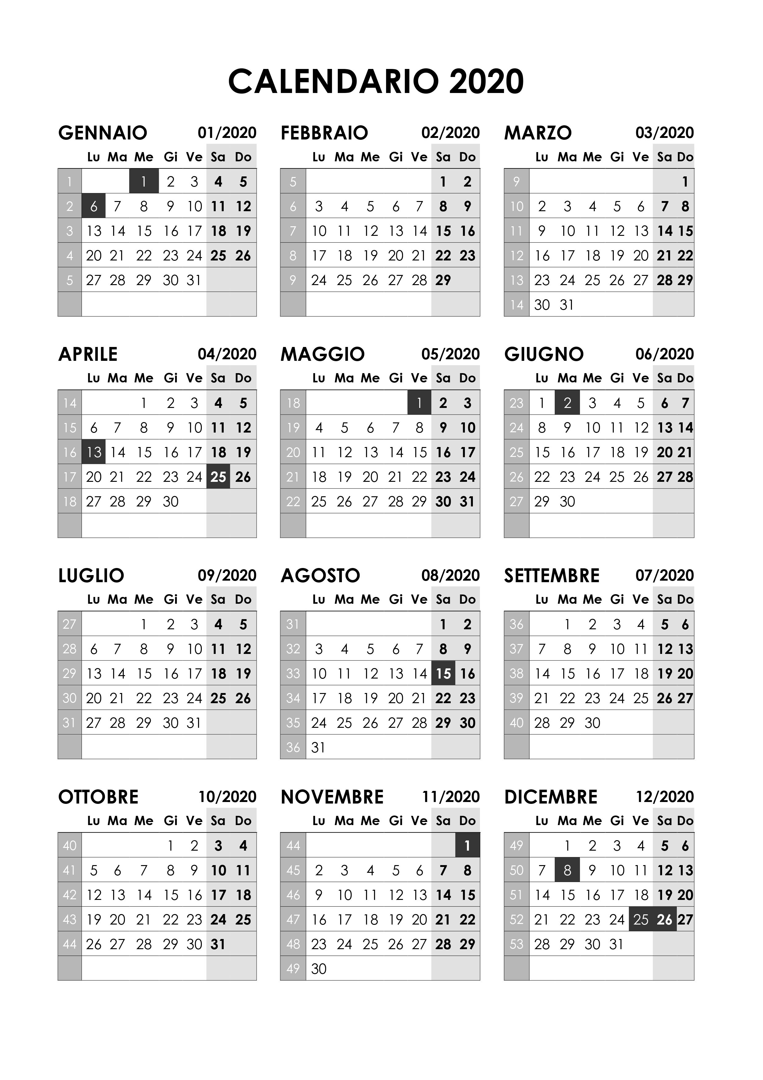 Settimane Calendario 2020.Calendario 2020 Annuale Calendario Su