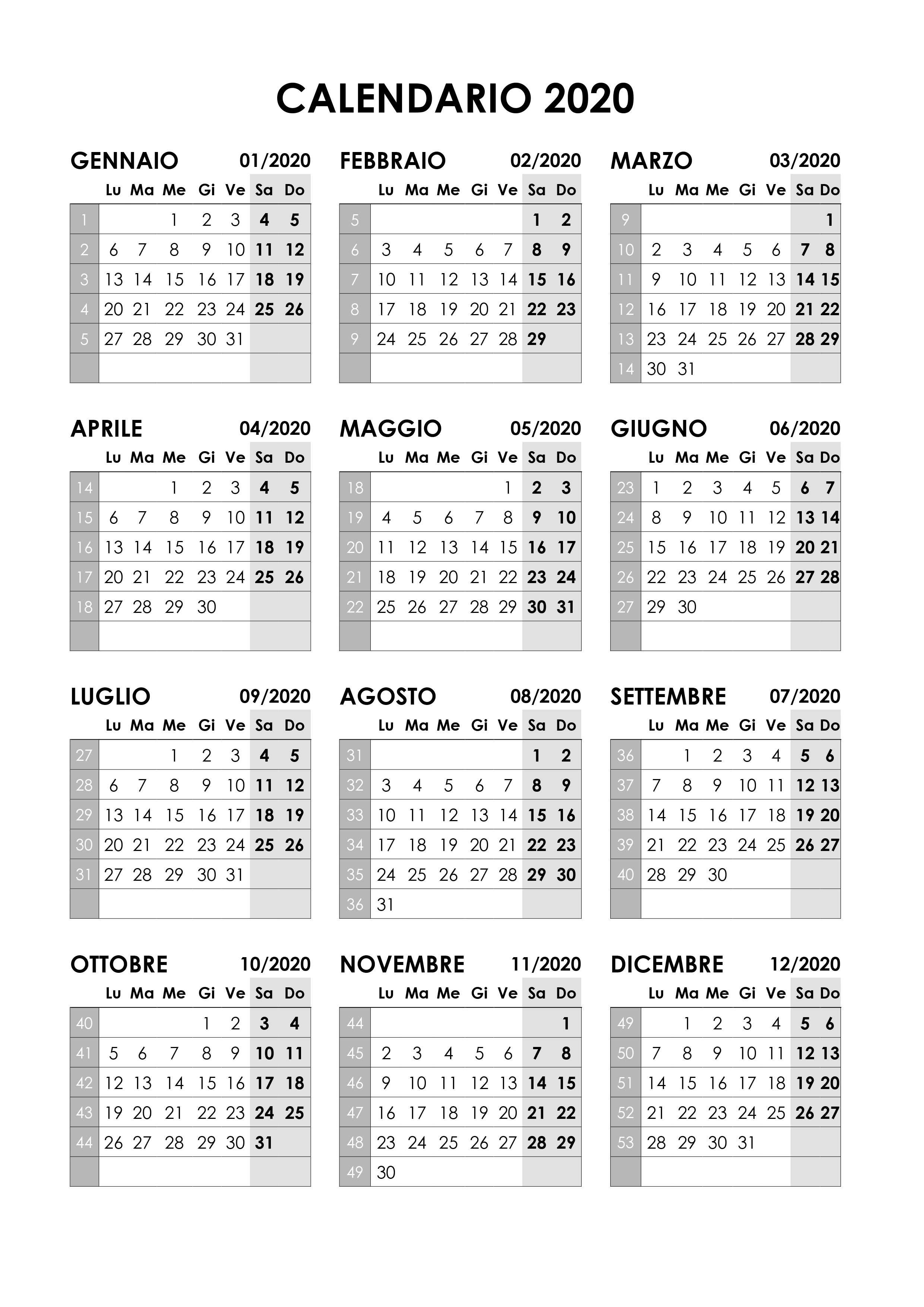 Calendario 2020 Con Numero Settimane.Calendario 2020 Annuale Calendario Su