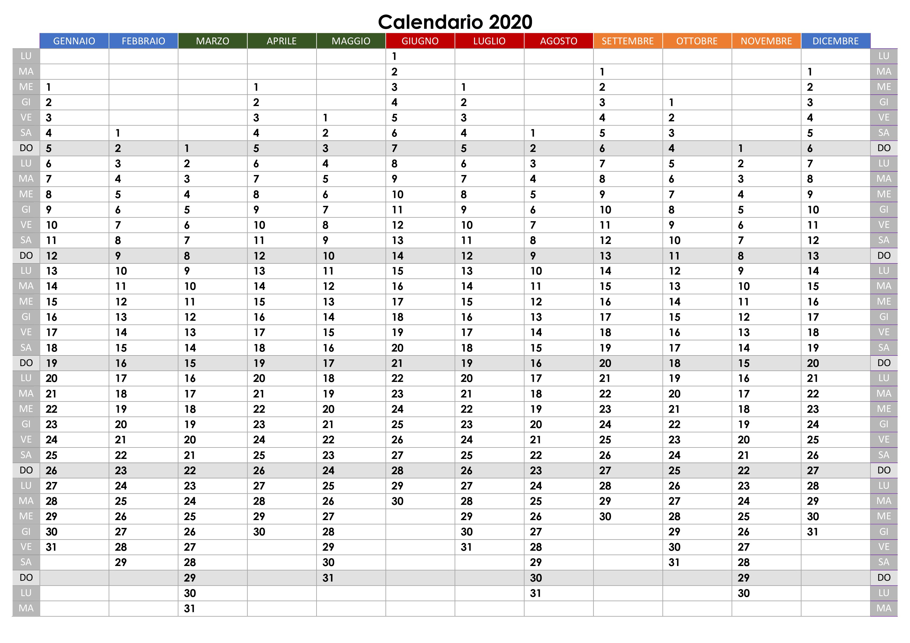 Calendario Italiano 2020 Con Festivita.Calendario 2020 Annuale Calendario Su