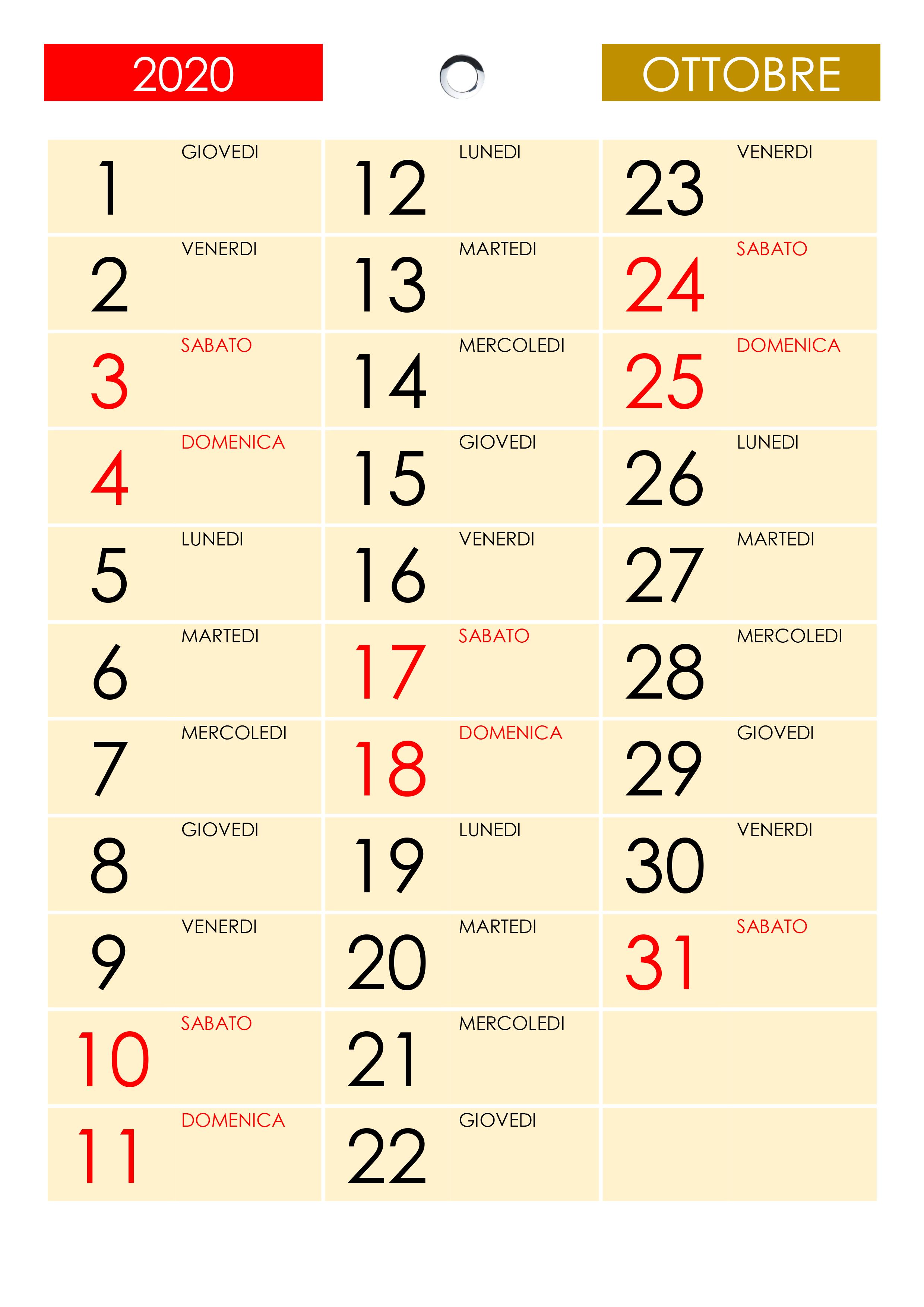 Anno Calendario 2020.Calendario Ottobre 2020 Calendario Su