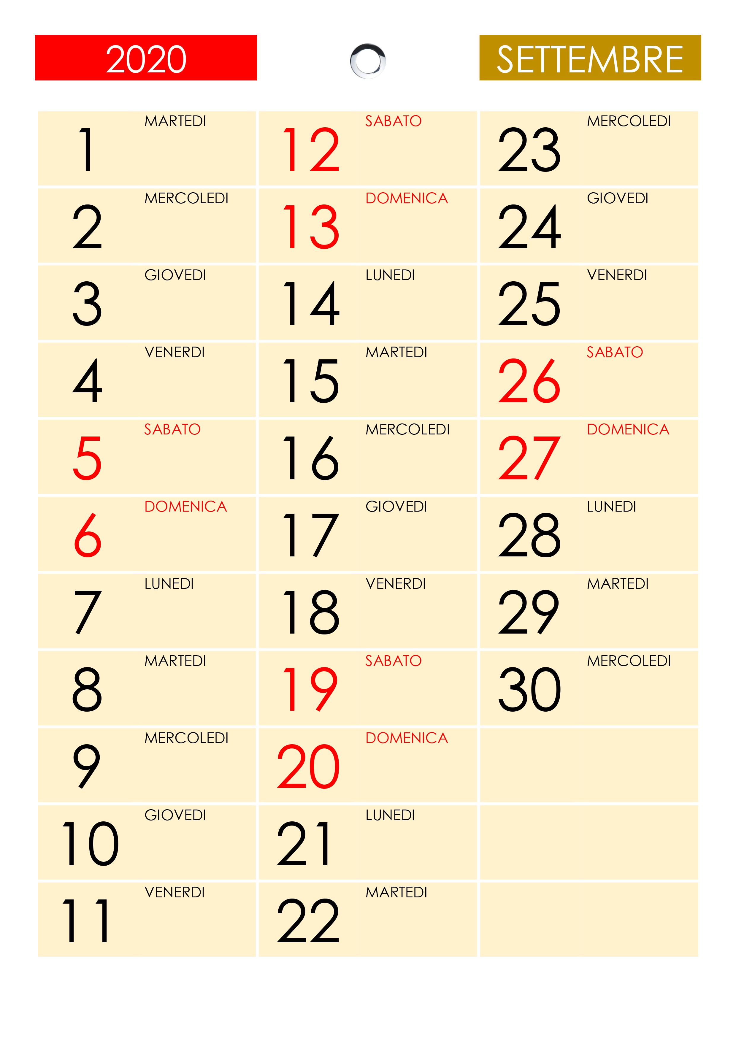 Calendario Settembre2020.Calendario Settembre 2020 Calendario Su