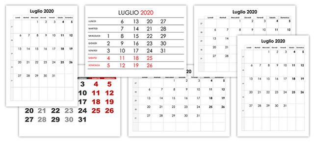 Calendario Luglio Agosto 2020.Calendario Luglio 2020 Calendario Su