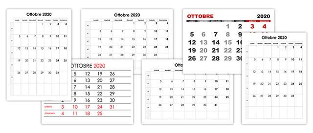 Settimane Calendario 2020.Calendario Ottobre 2020 Calendario Su