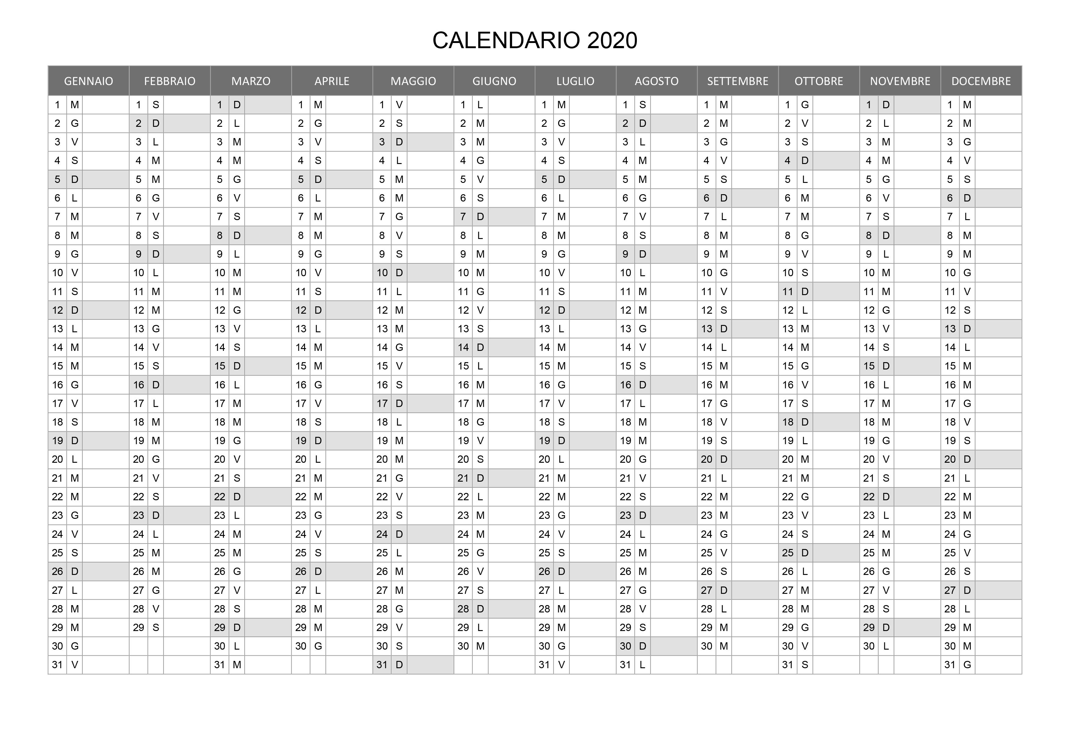 Calendario 2020 Mensile Da Stampare Gratis.Calendario 2020 Annuale Calendario Su