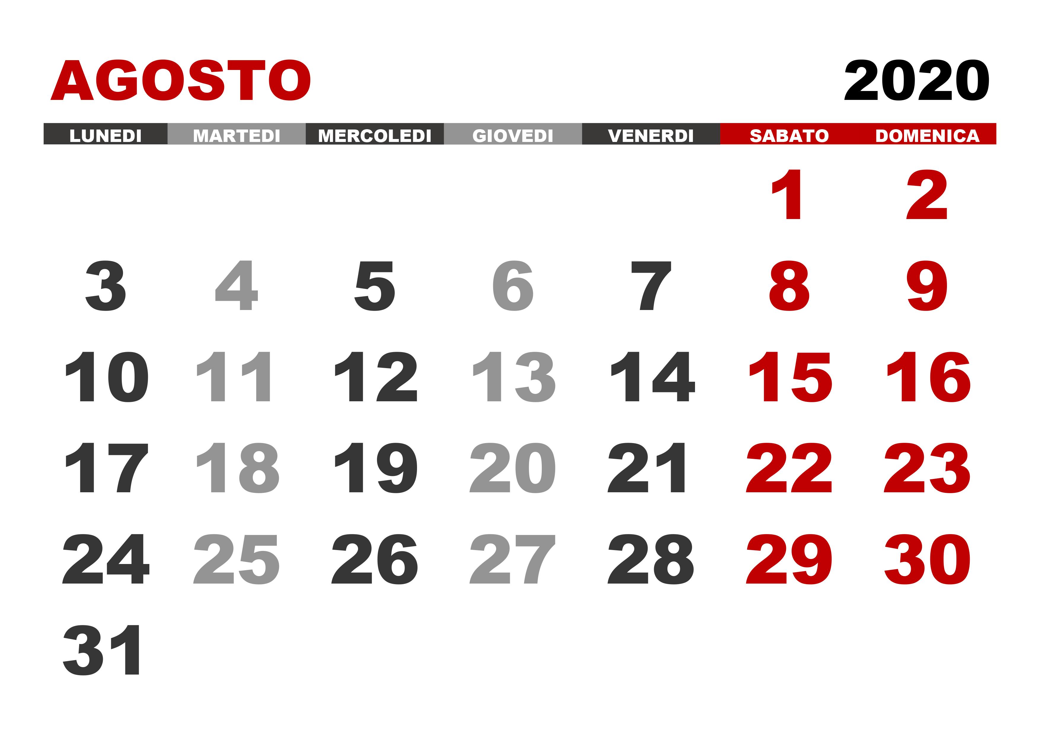 Calendario Luglio Agosto 2020.Calendario Agosto 2020 Calendario Su