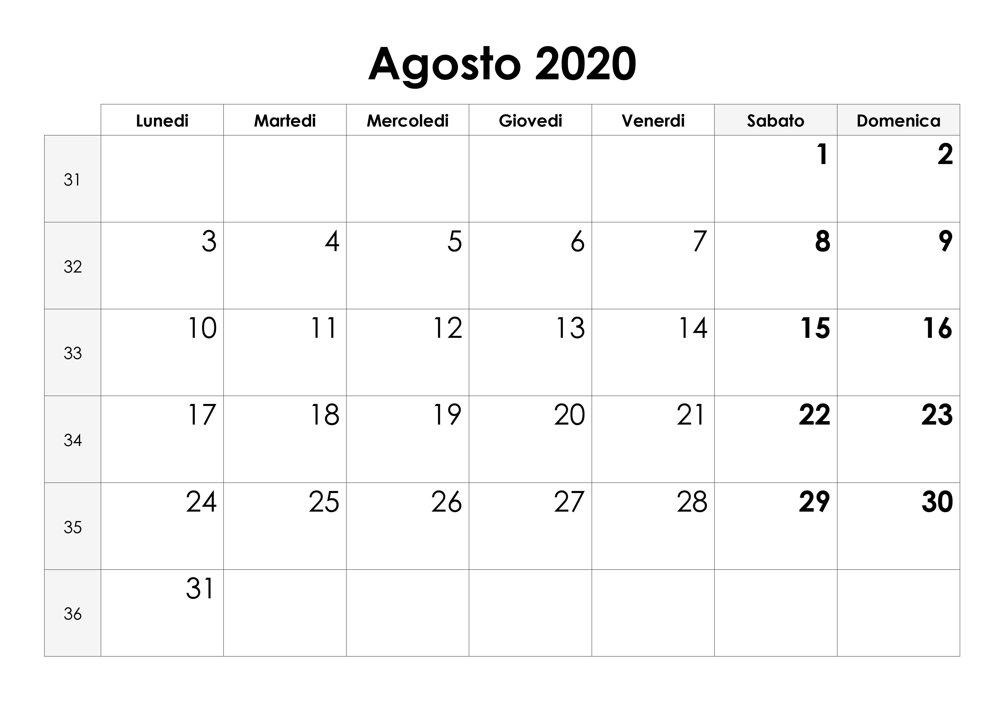 Calendario Mese Aprile 2020.Calendario Agosto 2020 Calendario Su