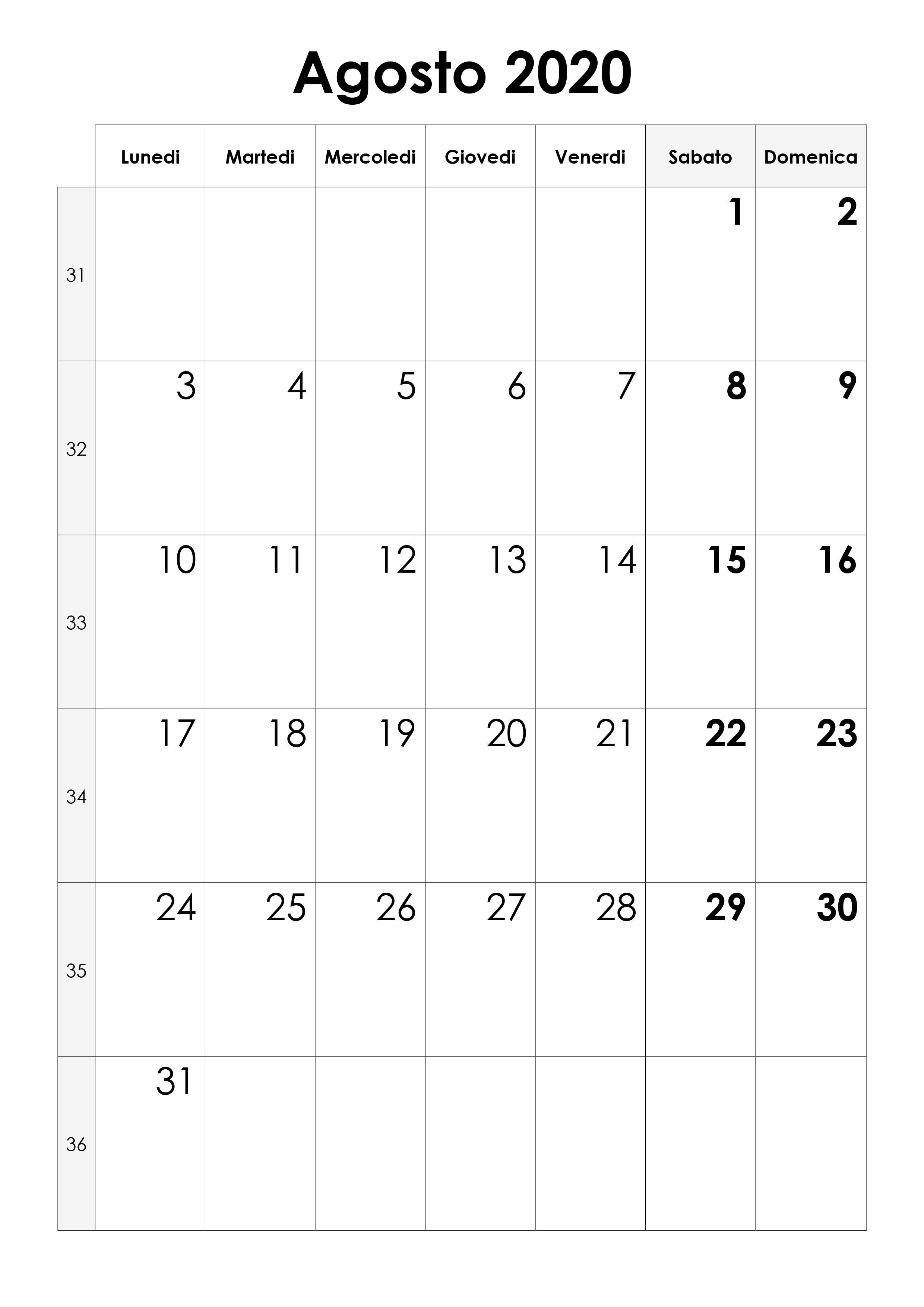Agosto 2020 Calendario.Calendario Agosto 2020 Calendario Su