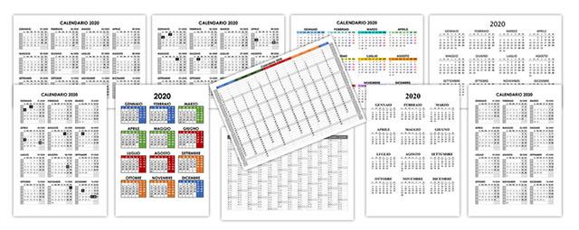 Calendario Annuale 2020.Calendario 2020 Annuale Calendario Su