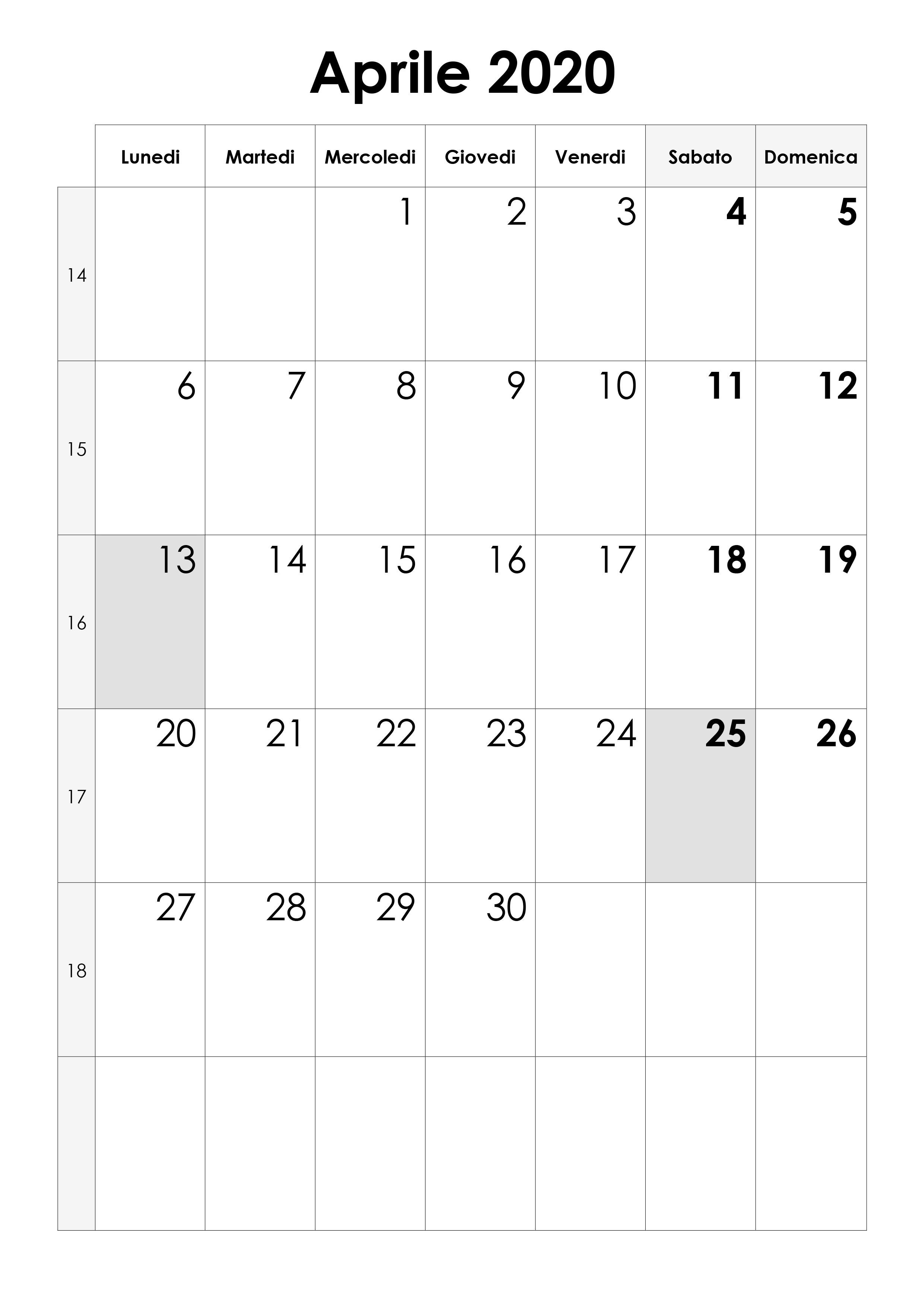 Calendario Mensile Aprile 2020.Calendario Aprile 2020 Calendario Su