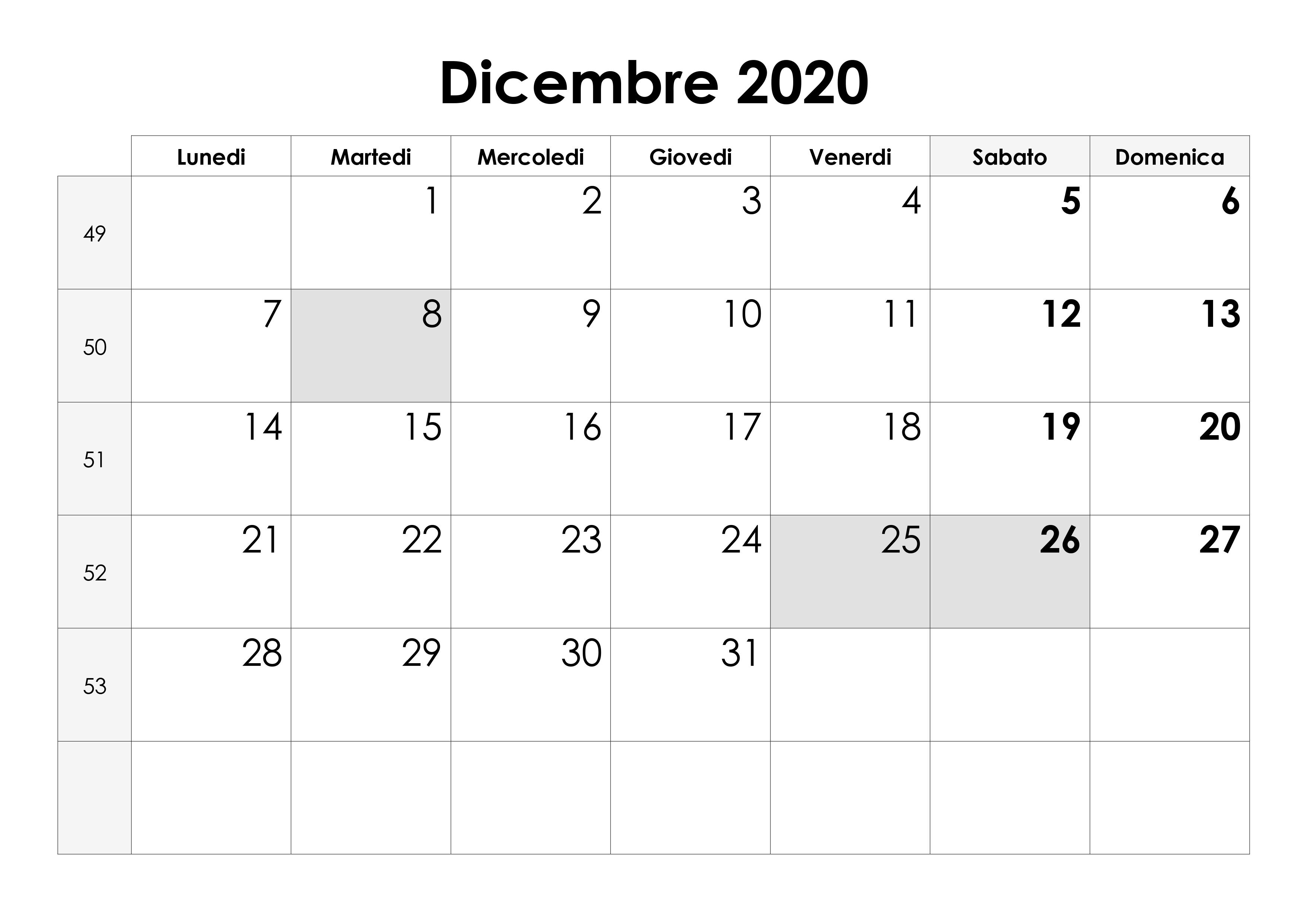 Calendario Dicembre 2020 Da Stampare Pdf.Calendario Dicembre 2020 Calendario Su