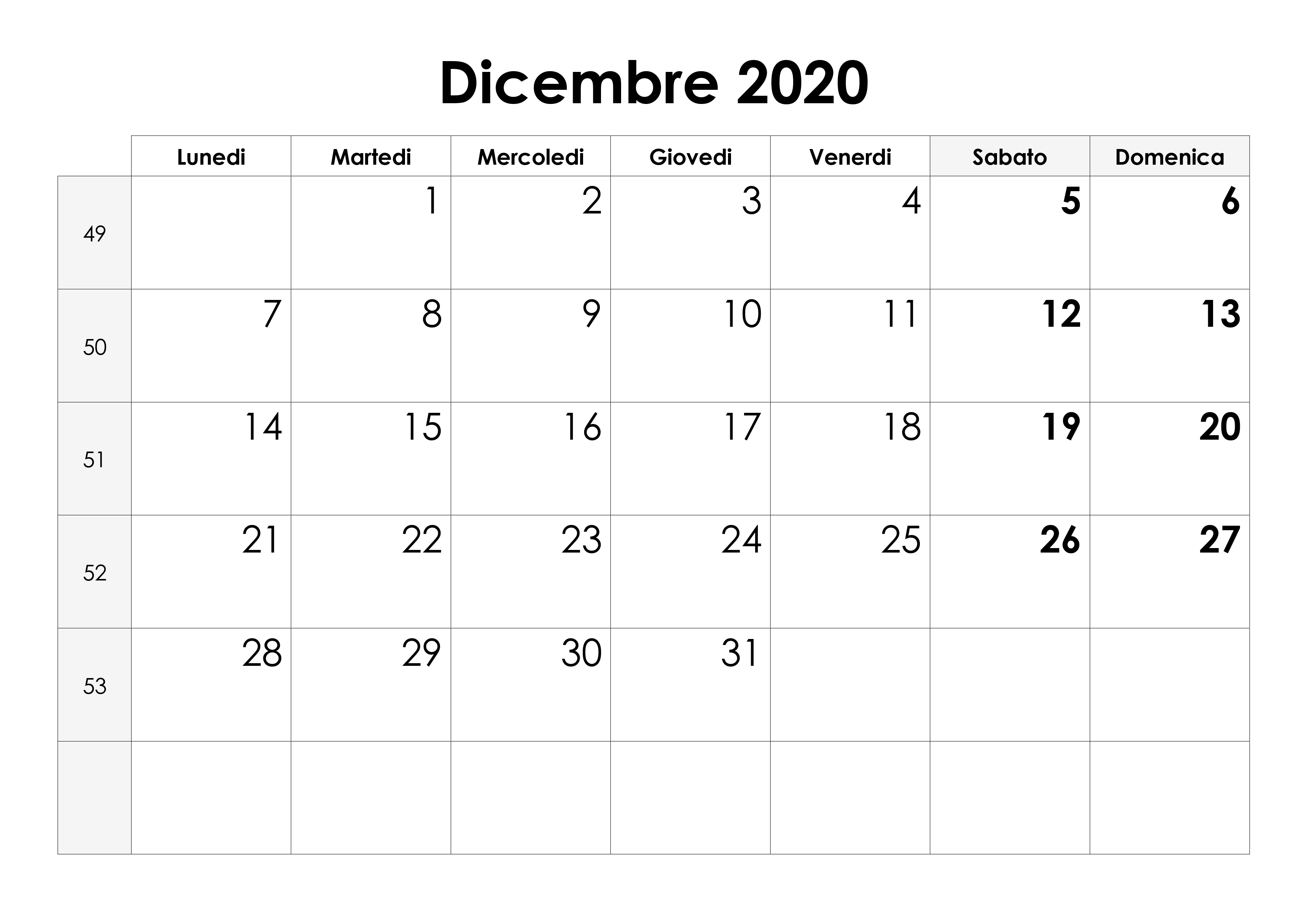 Dicembre Calendario 2020.Calendario Dicembre 2020 Calendario Su