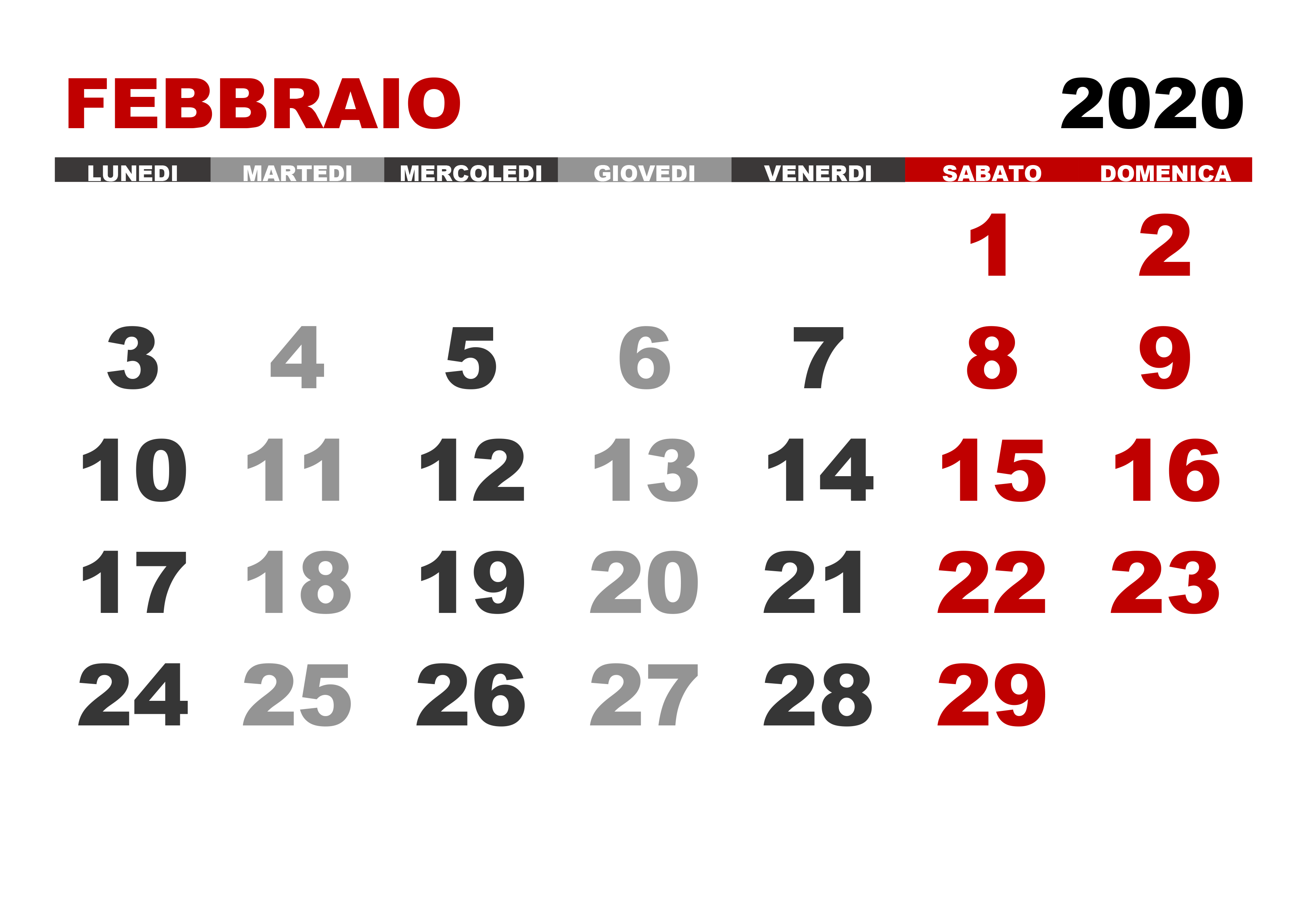 Calendario 2020 Pdf Stampabile.Calendario Febbraio 2020 Calendario Su
