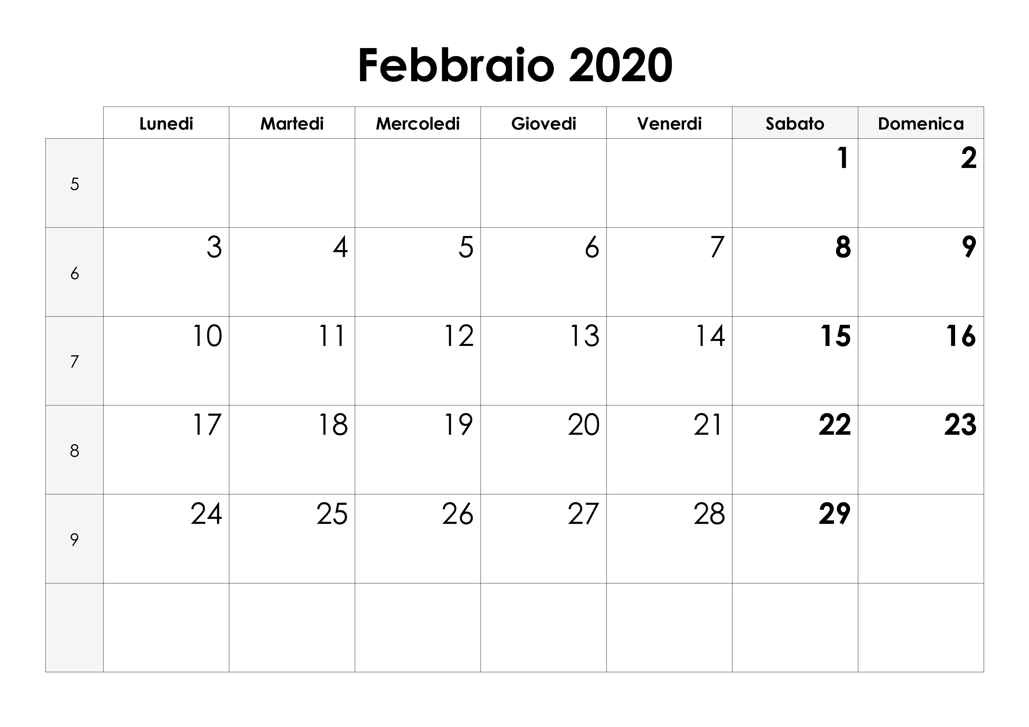 Pdf Calendario 2020.Calendario Febbraio 2020 Calendario Su