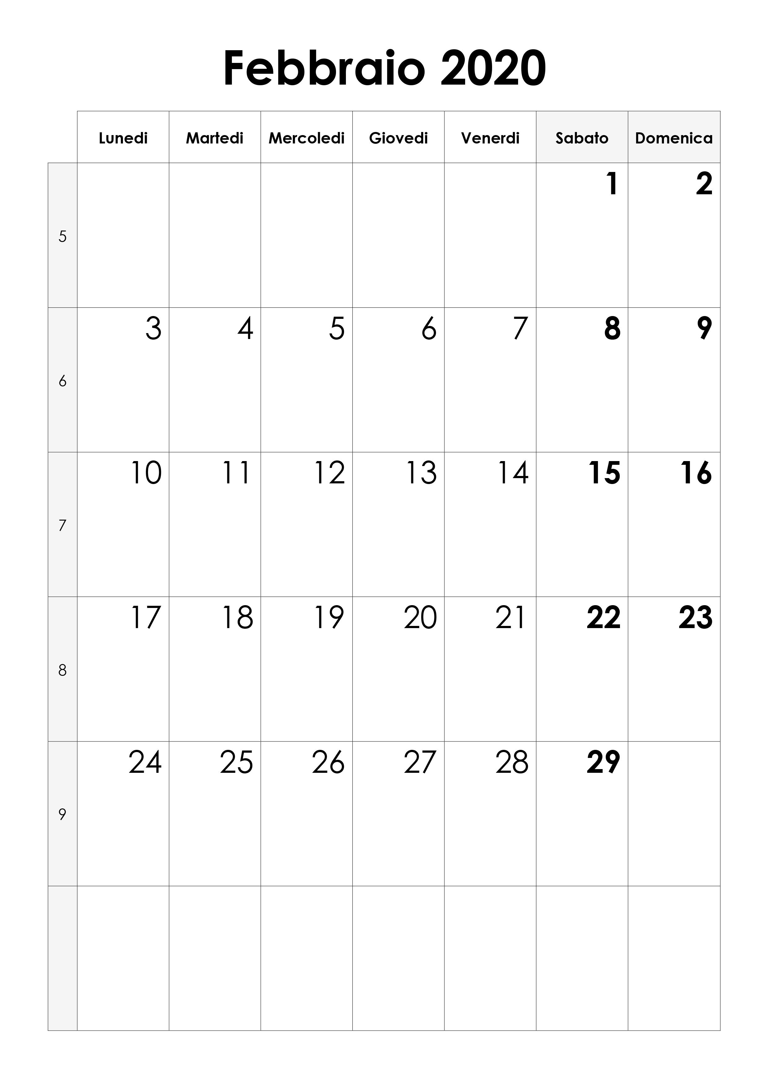 Calendario Febbraio Marzo 2020.Calendario Febbraio 2020 Calendario Su