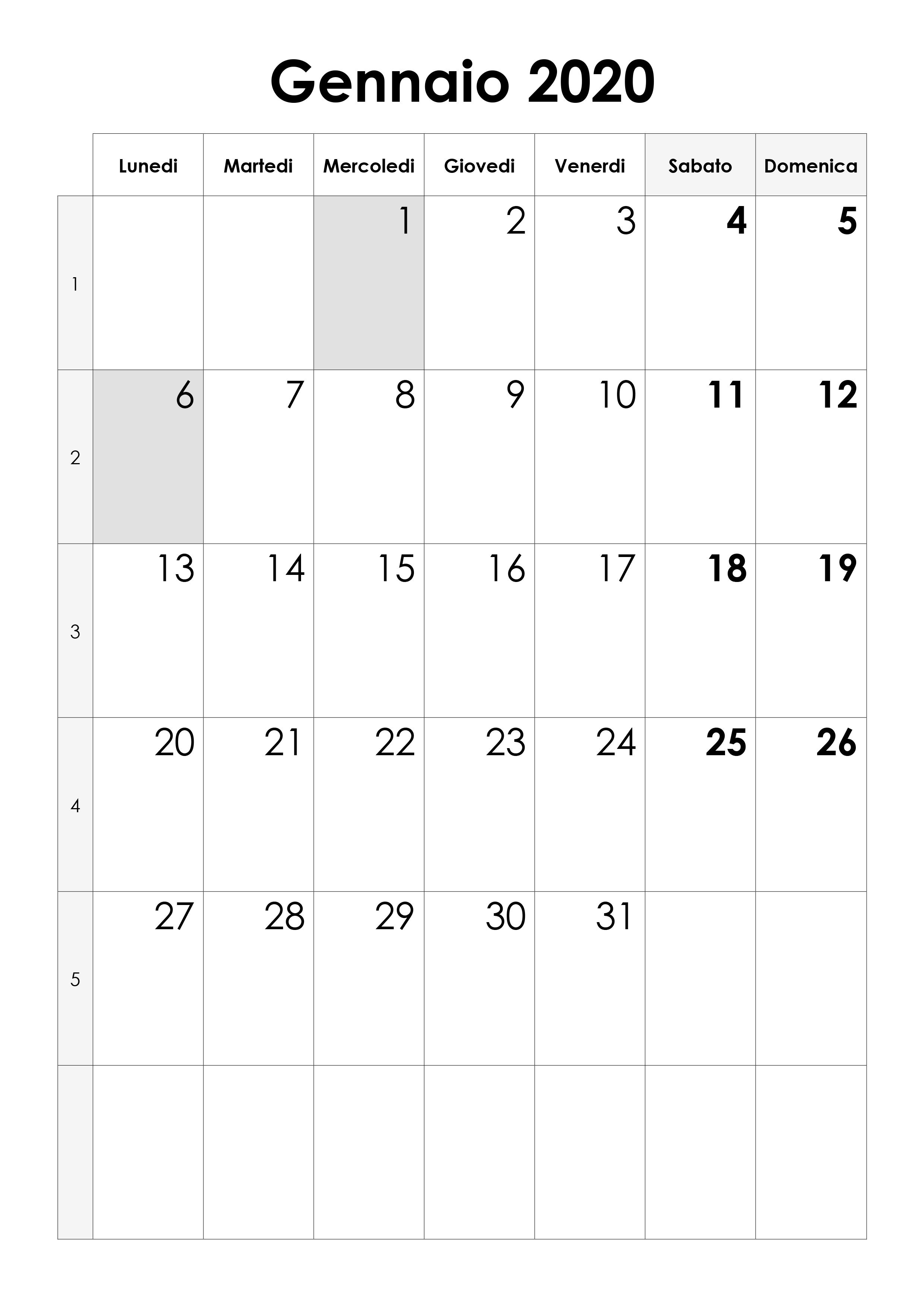 Calendario Gennaio 2020 Calendariosu