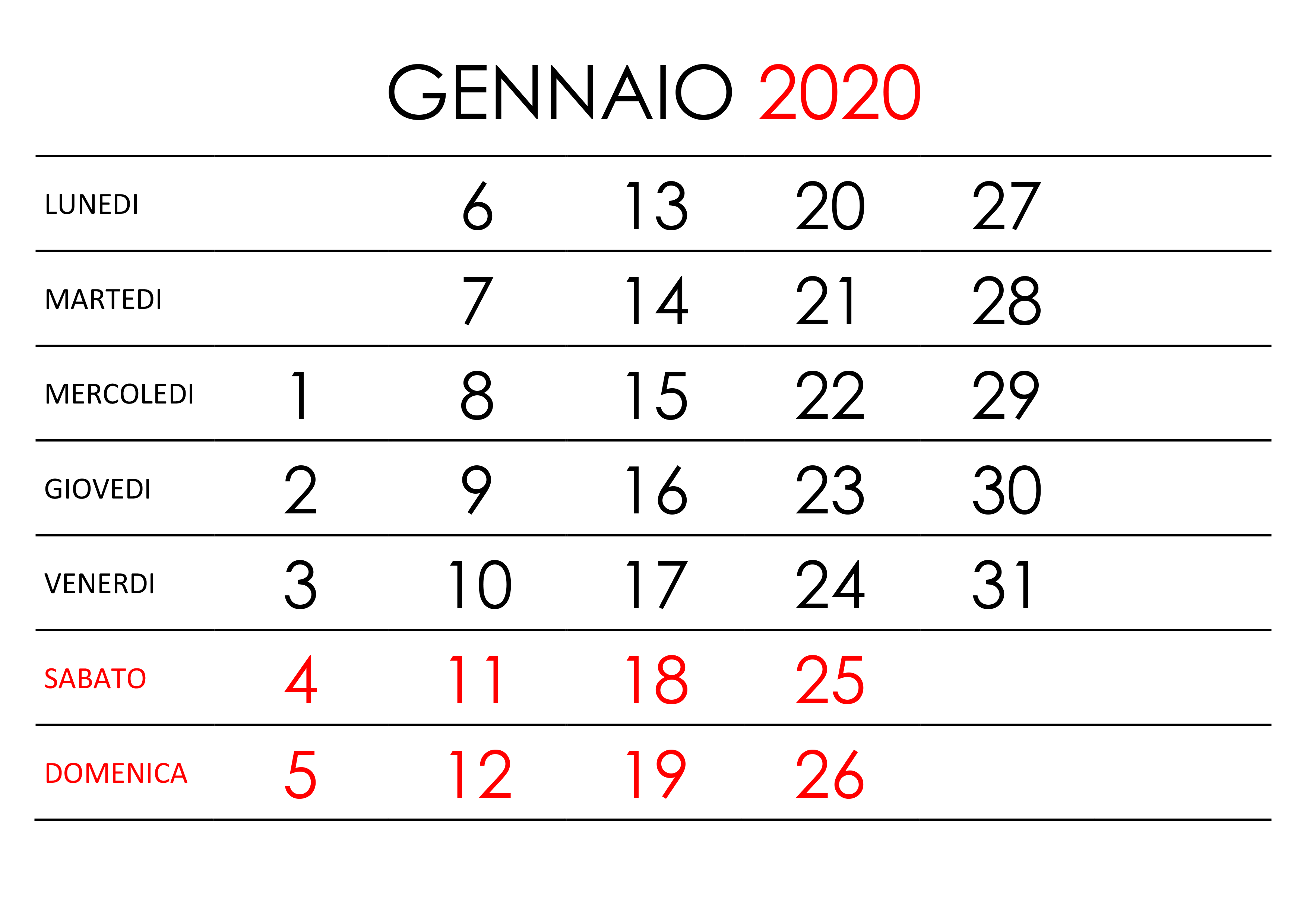 Calendario Gennaio 2020 Da Stampare.Calendario Gennaio 2020 Calendario Su
