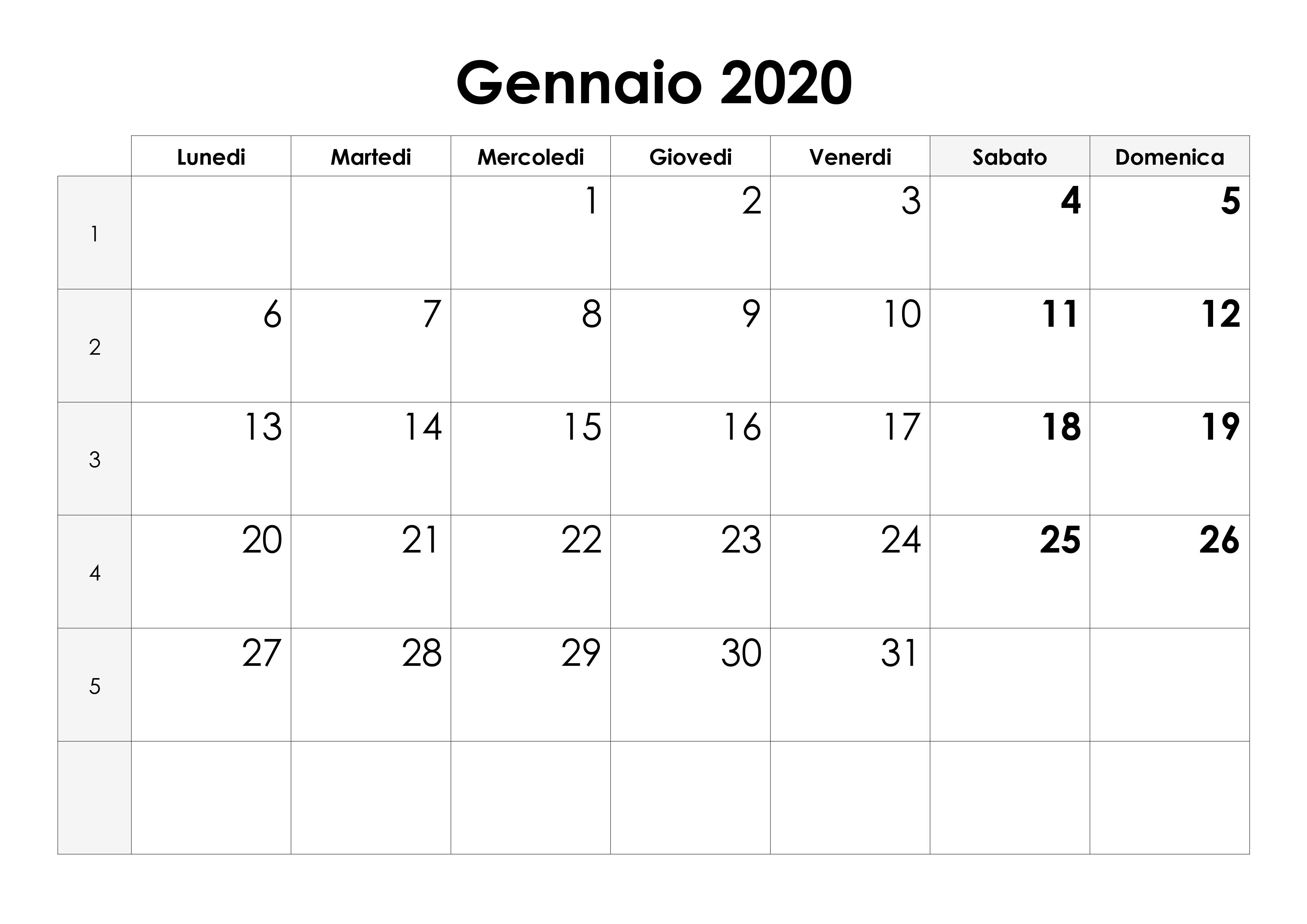Calendario Dicembre 2019 E Gennaio 2020.Calendario Gennaio 2020 Calendario Su