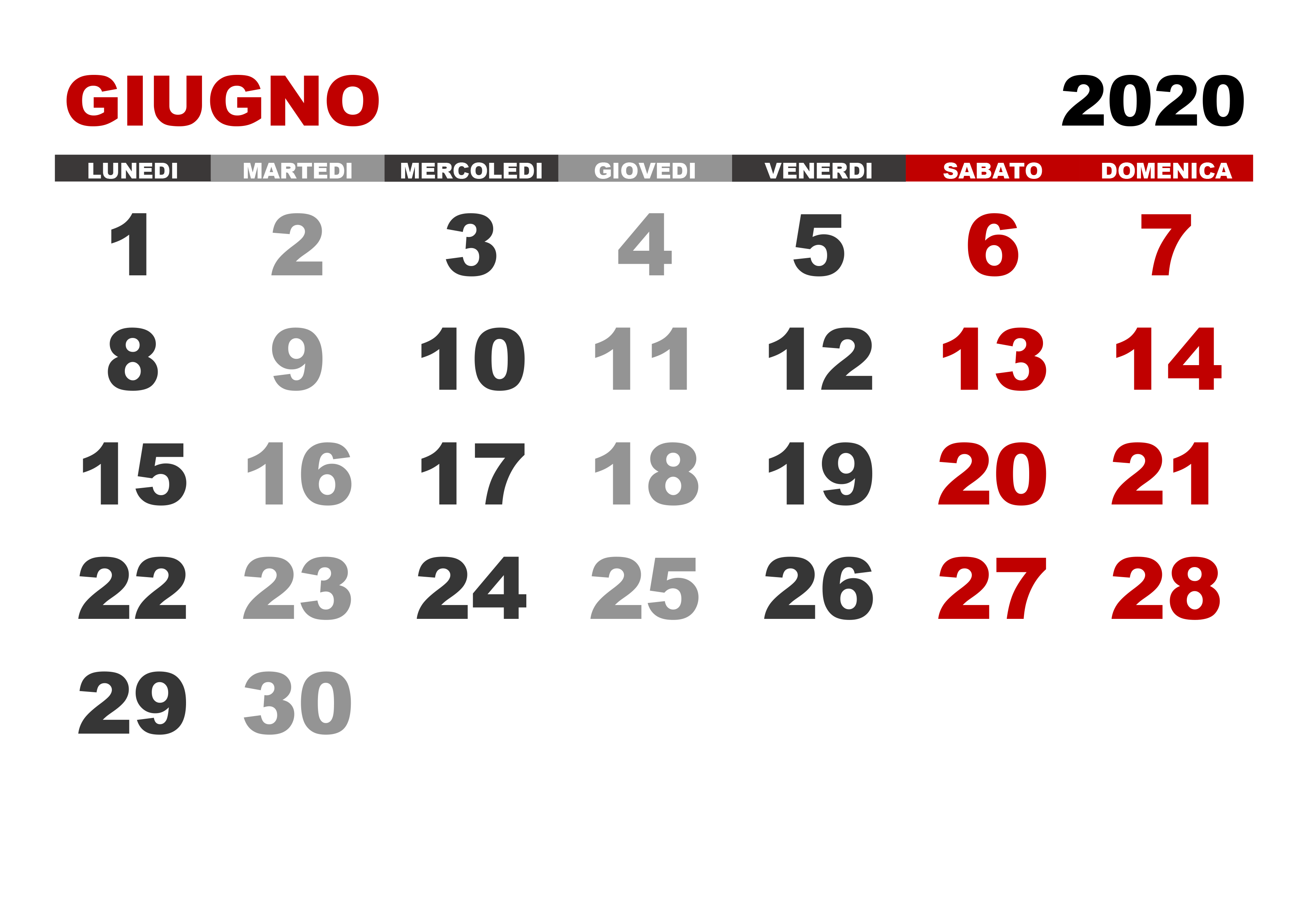 Calendario Mensile Giugno 2020.Calendario Giugno 2020 Calendario Su