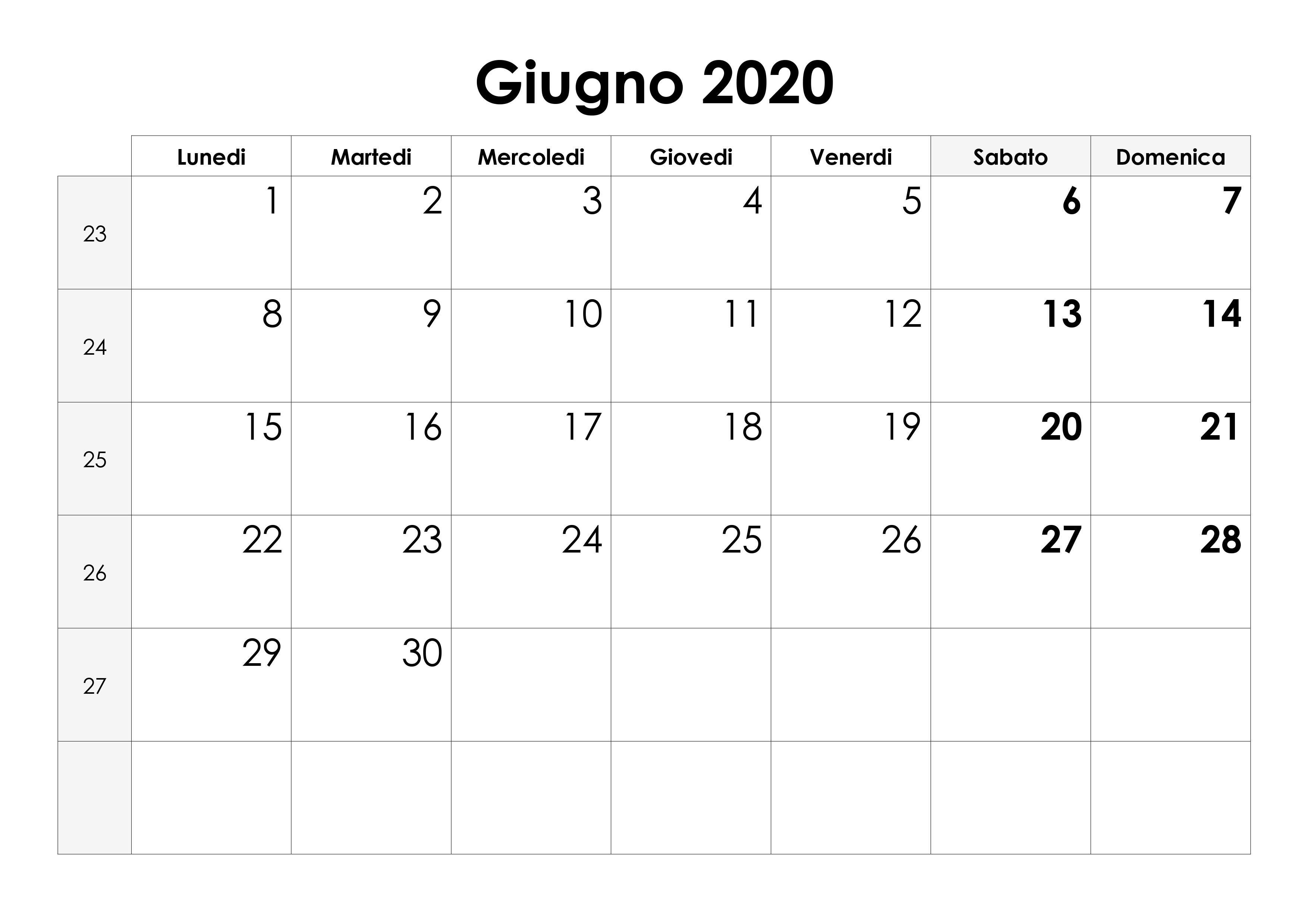 Calendario Da Settembre 2019 A Giugno 2020.Calendario Giugno 2020 Calendario Su