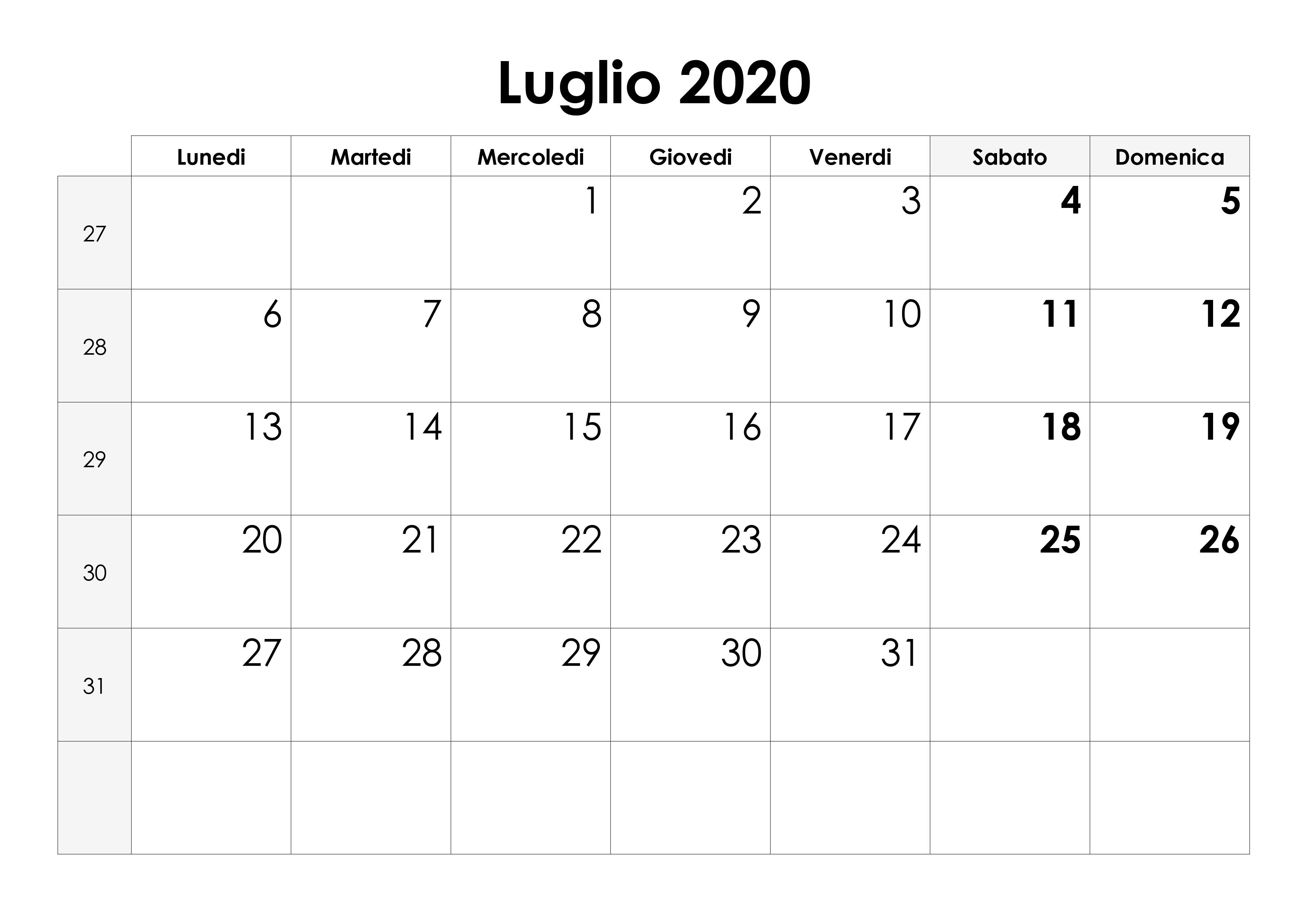 Calendario Luglio 2020 Da Stampare.Calendario Luglio 2020 Calendario Su