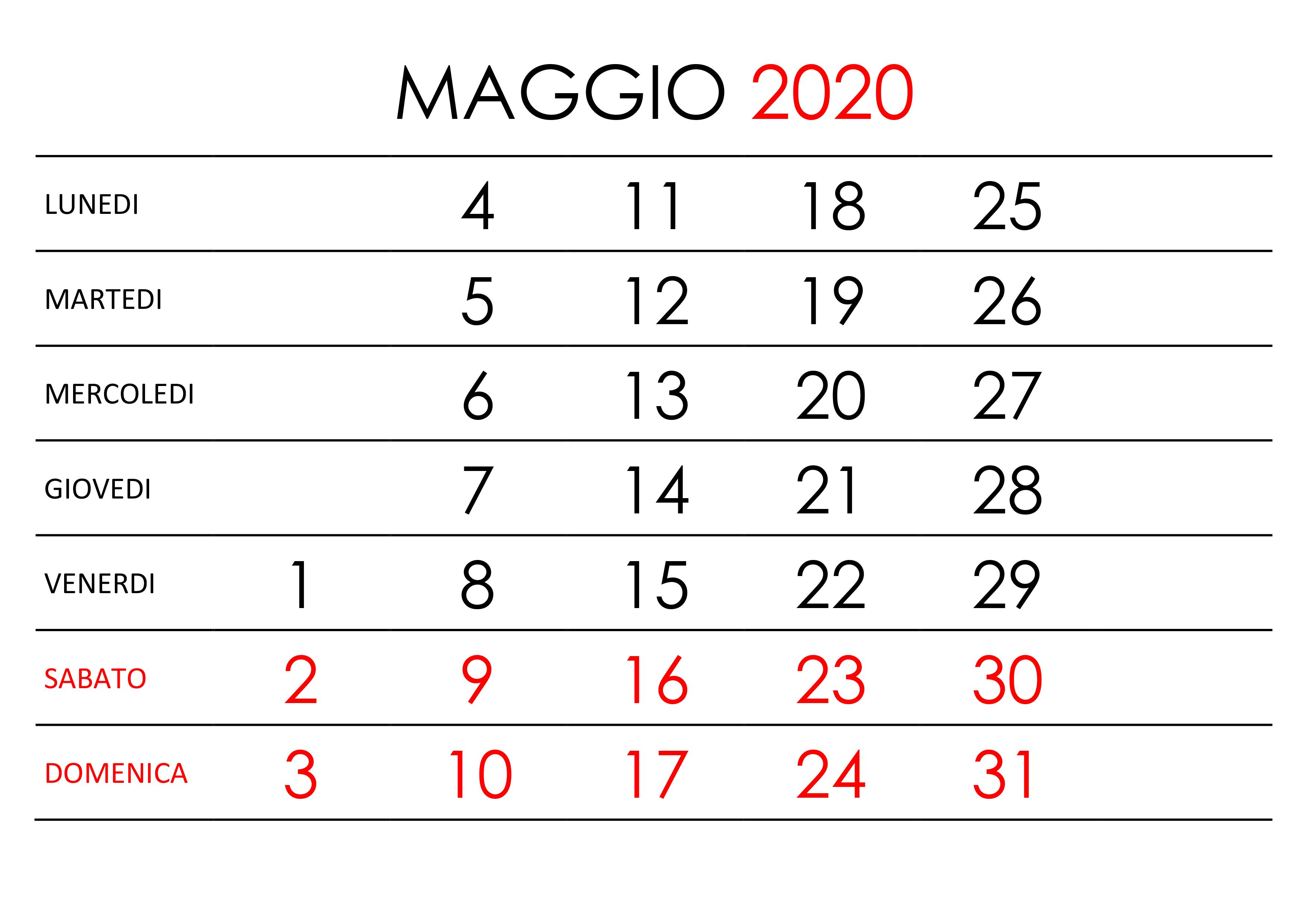 Calendario Di Frate Indovino 2020.Calendario Maggio 2020 Pdf