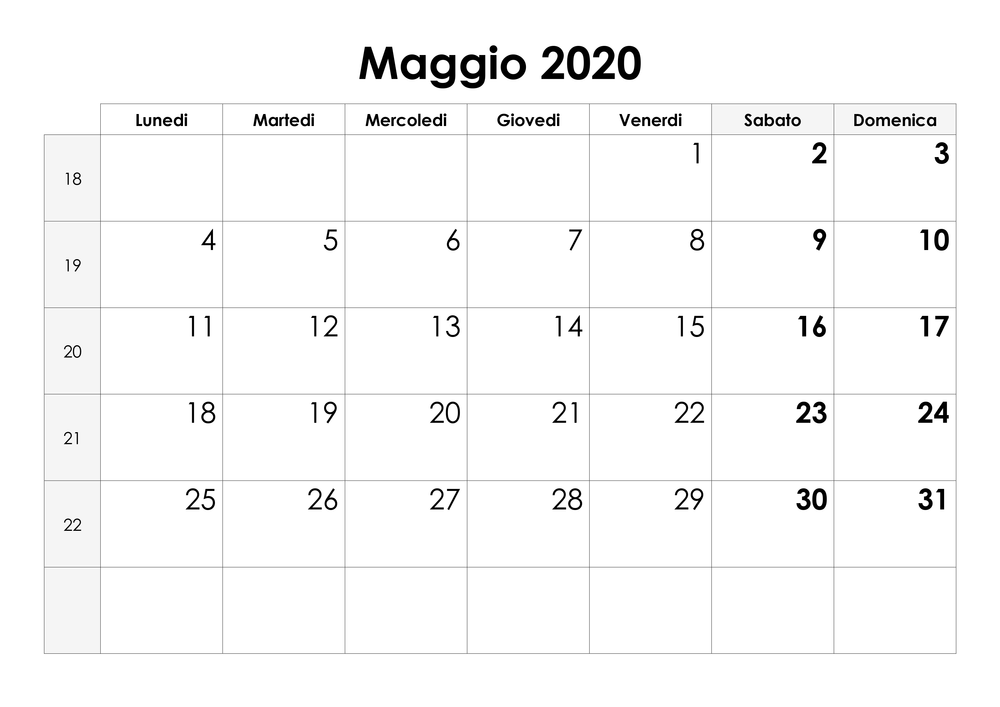 Calendario Maggio 2020 Da Stampare.Calendario Maggio 2020 Calendario Su