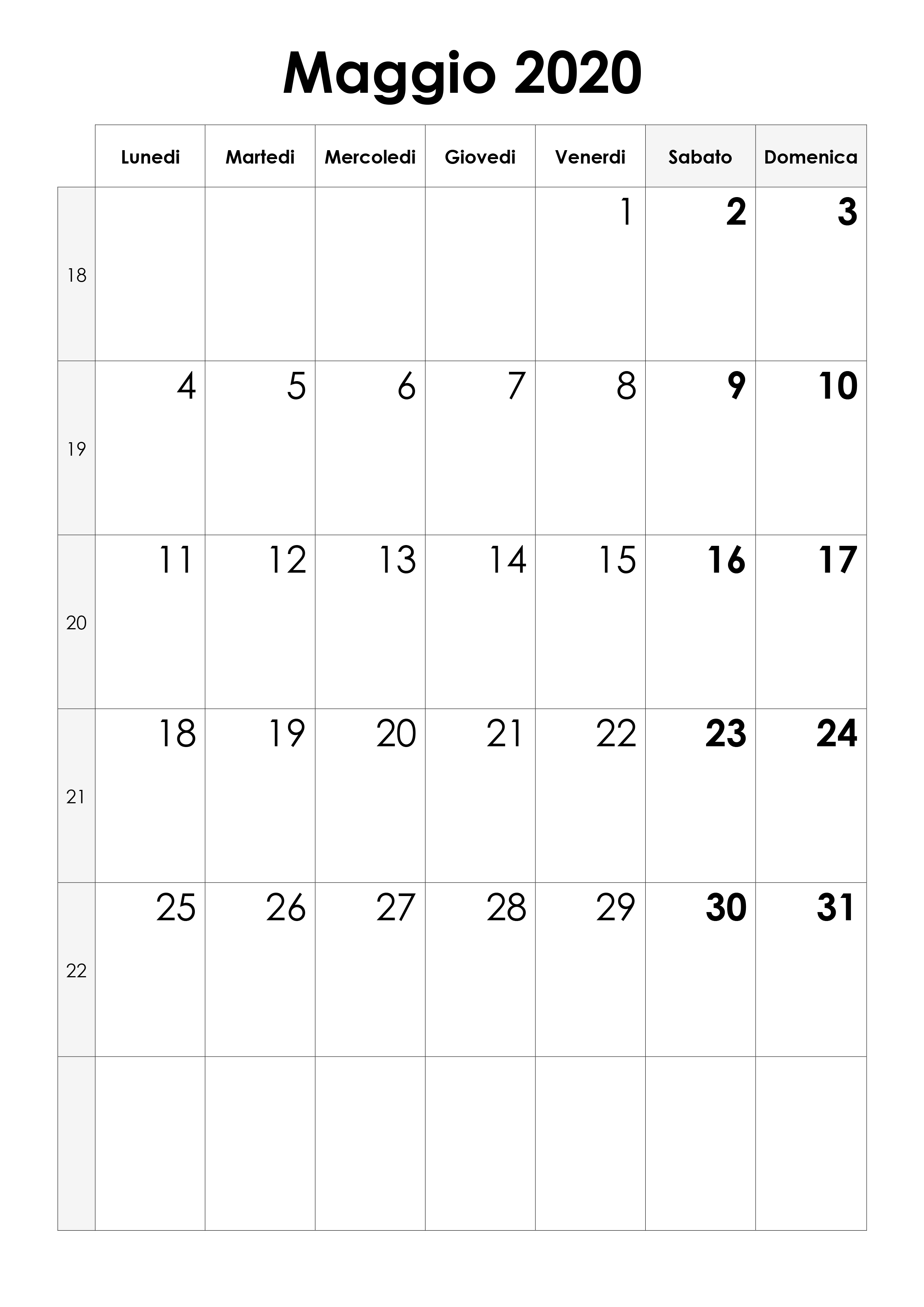 Calendario Maggio 2020.Calendario Maggio 2020 Calendario Su