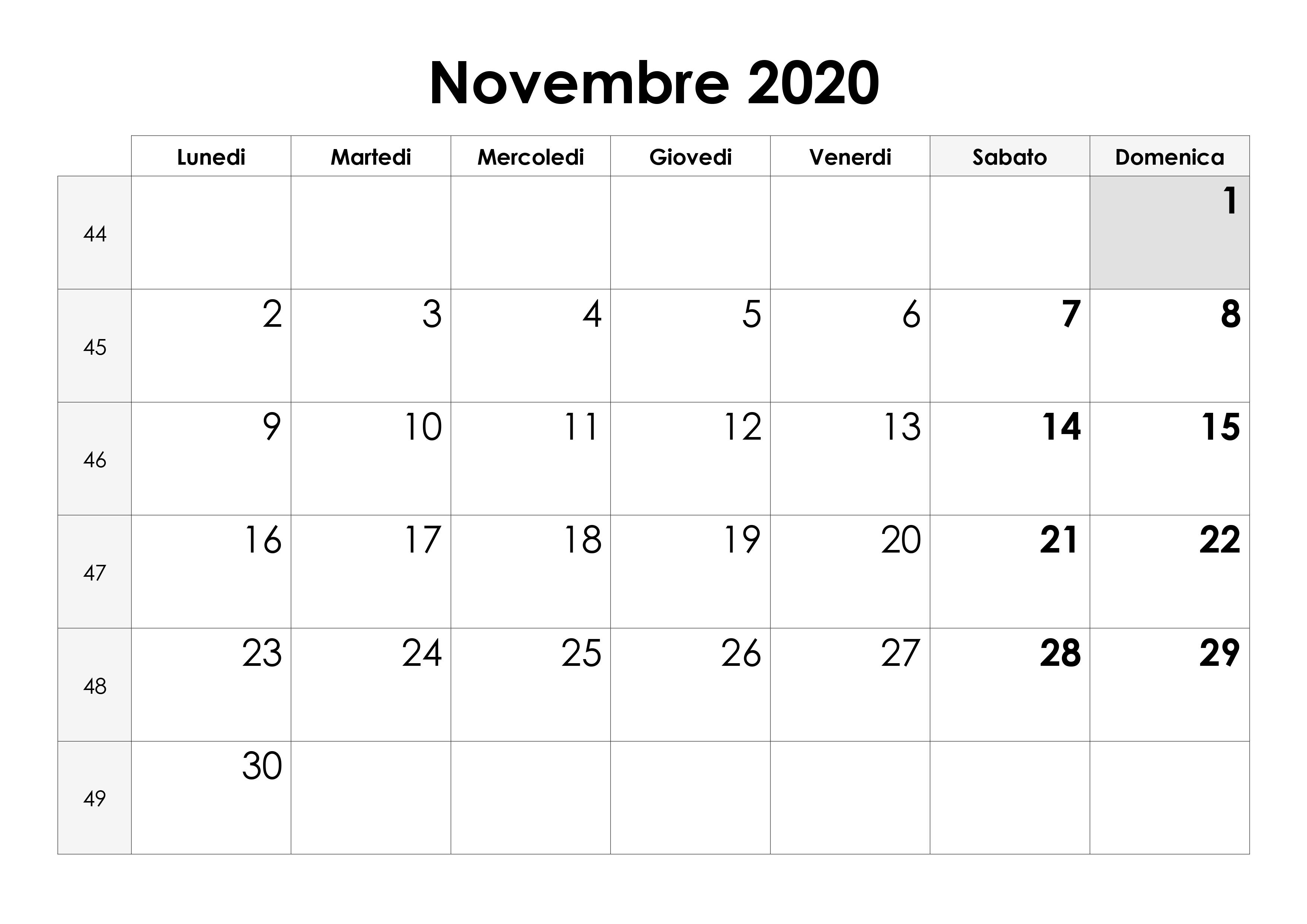 Calendario Di Frate Indovino 2020.Calendario Di Novembre 2020
