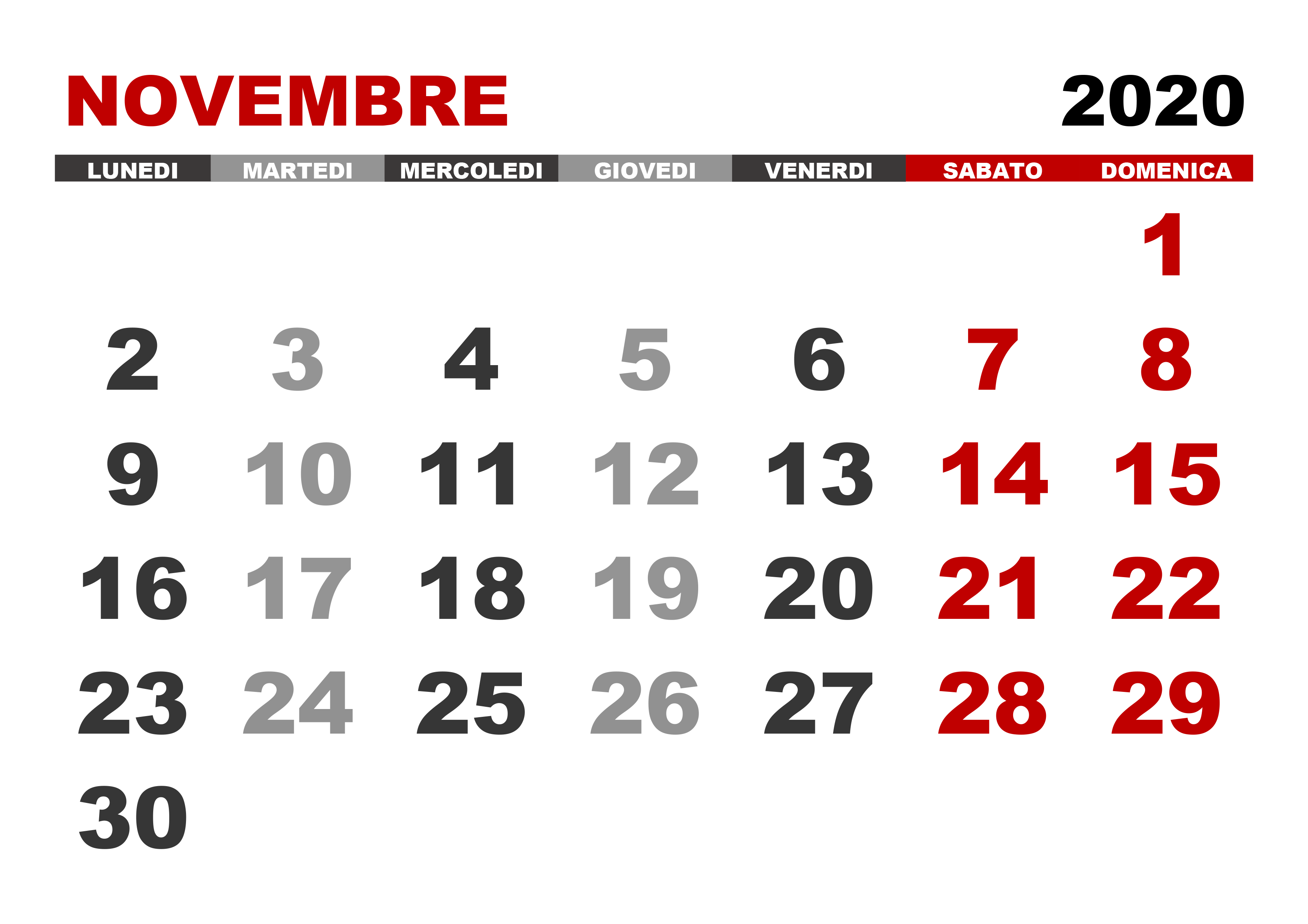 Novembre 2020 Calendario.Calendario Novembre 2020 Calendario Su