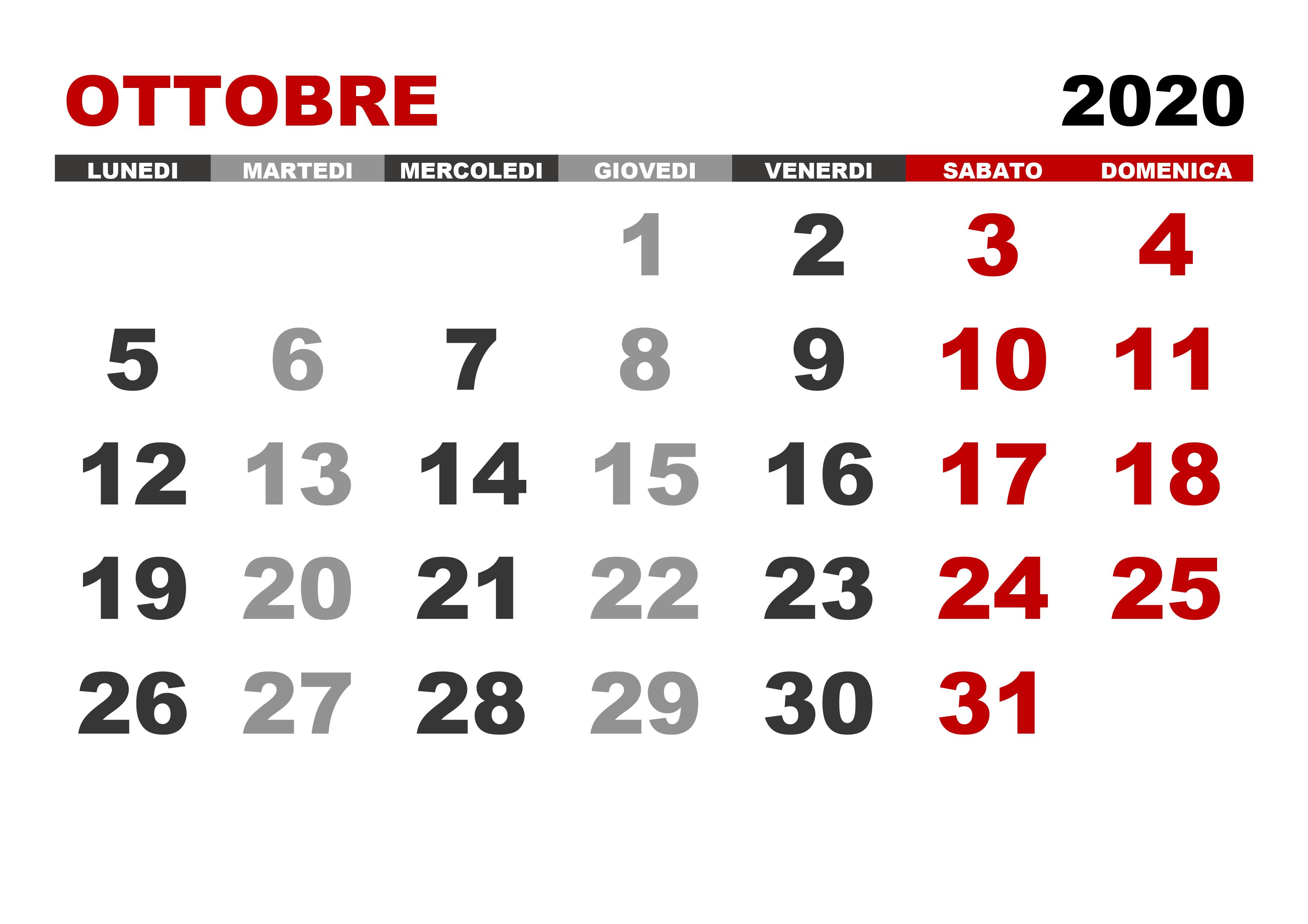 Calendario Mese Ottobre 2020.Calendario Ottobre 2020 Calendario Su
