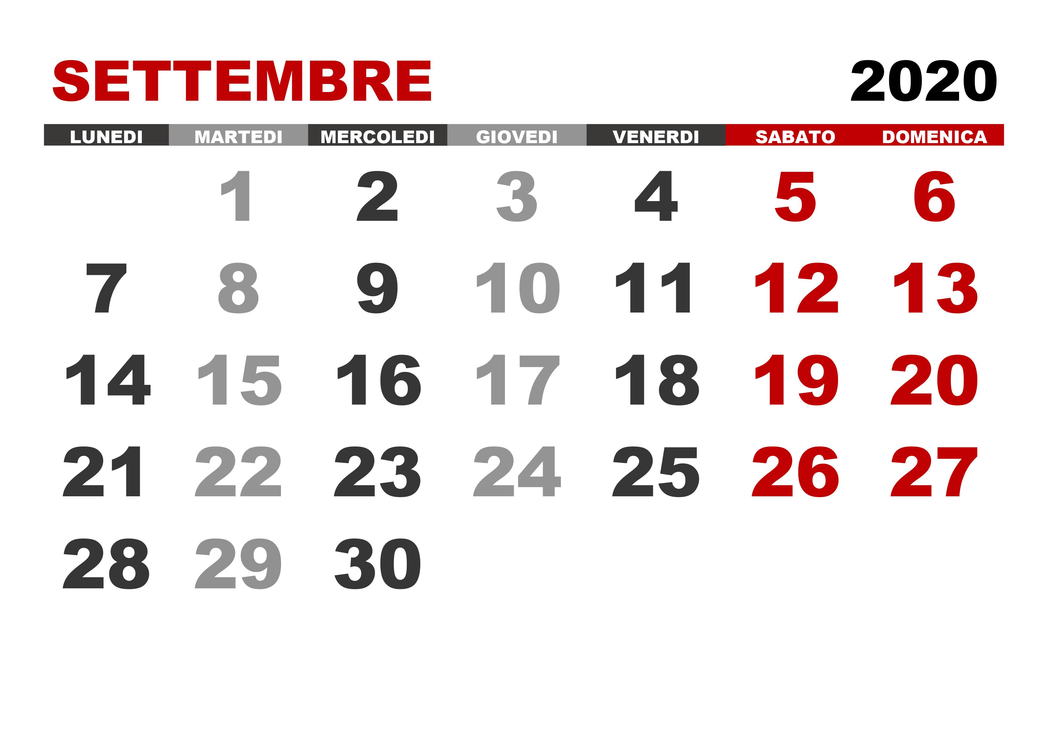 Calendario Mese Settembre 2020.Calendario Settembre 2020 Calendario Su