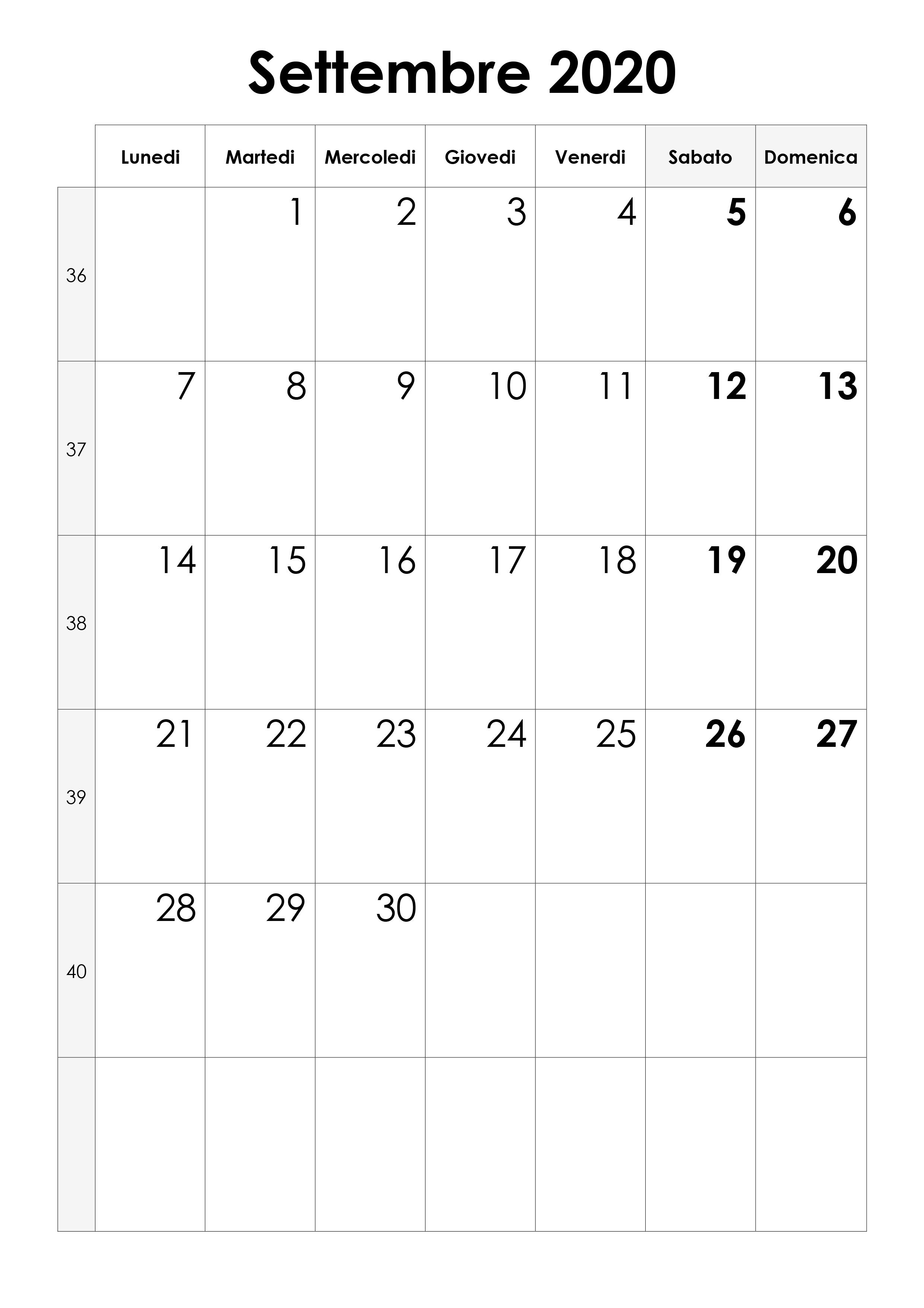 Calendario Marzo 2020.Calendario Settembre 2020 Calendario Su
