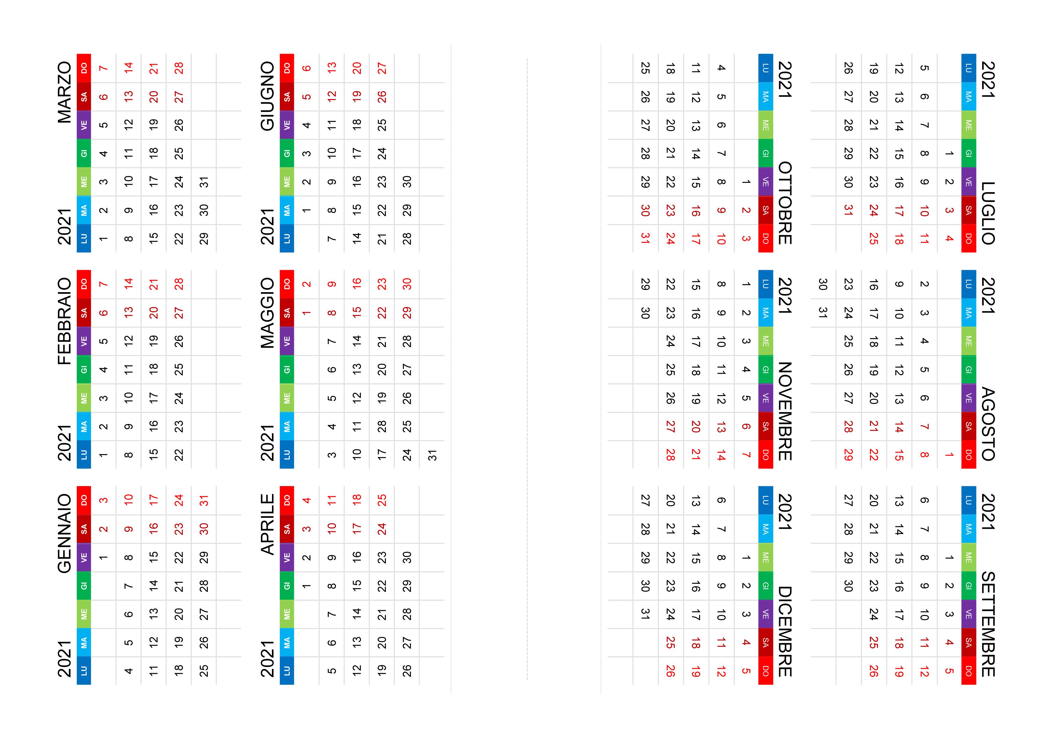 Calendario 2021 annuale – calendario.su