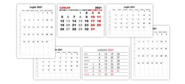 Calendario 31 Luglio.Luglio Calendario Su