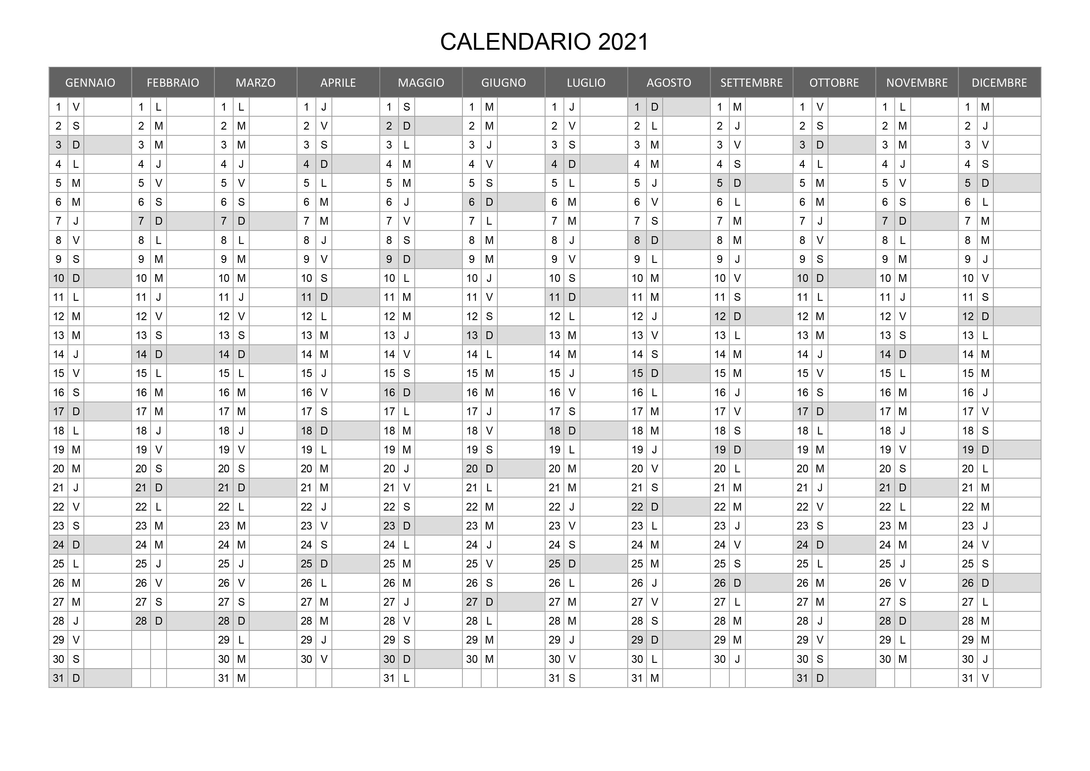 Calendario 2021 Annuale Excel Calendario 2021 annuale – calendario.su