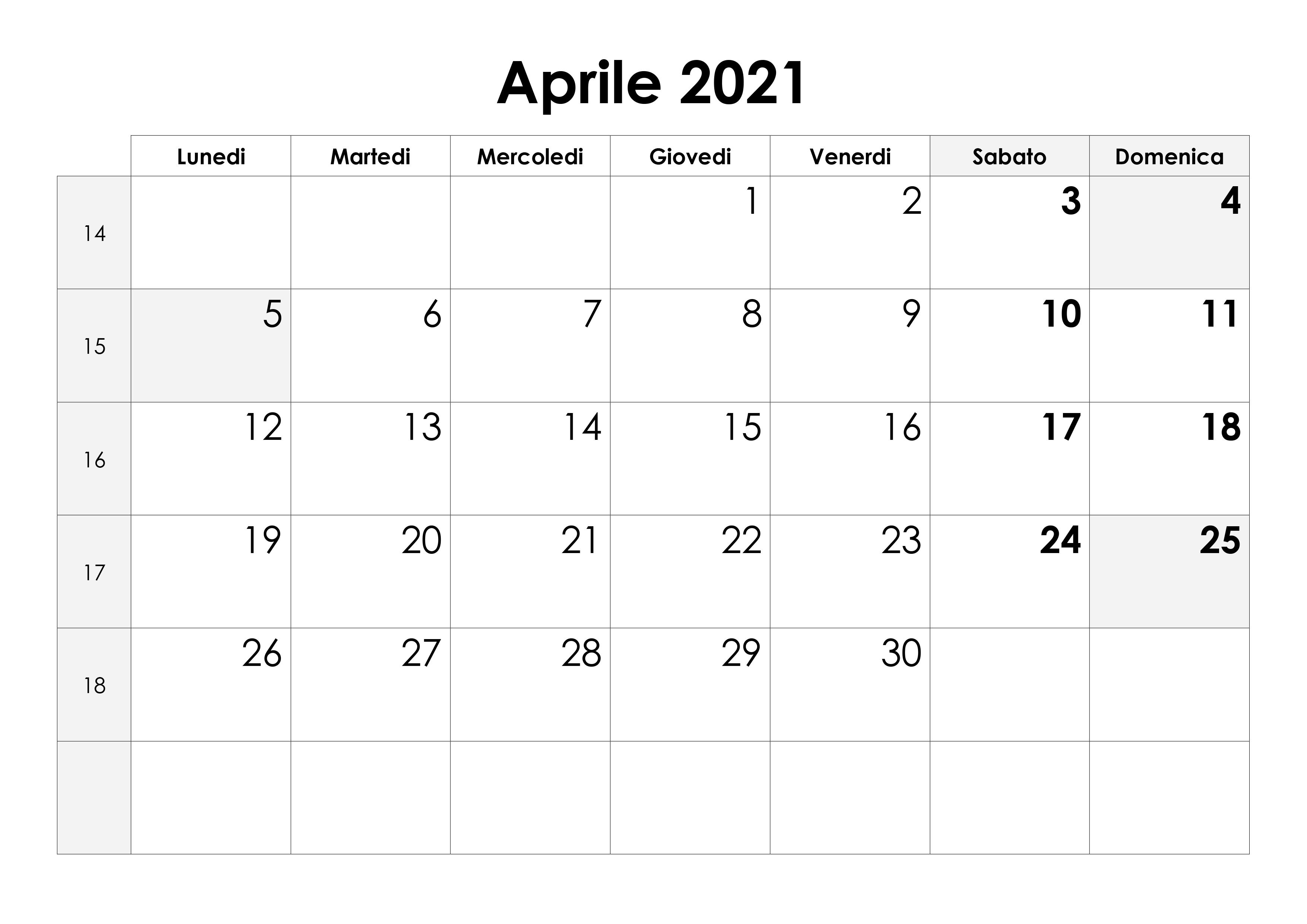 Calendario aprile 2021 – calendario.su