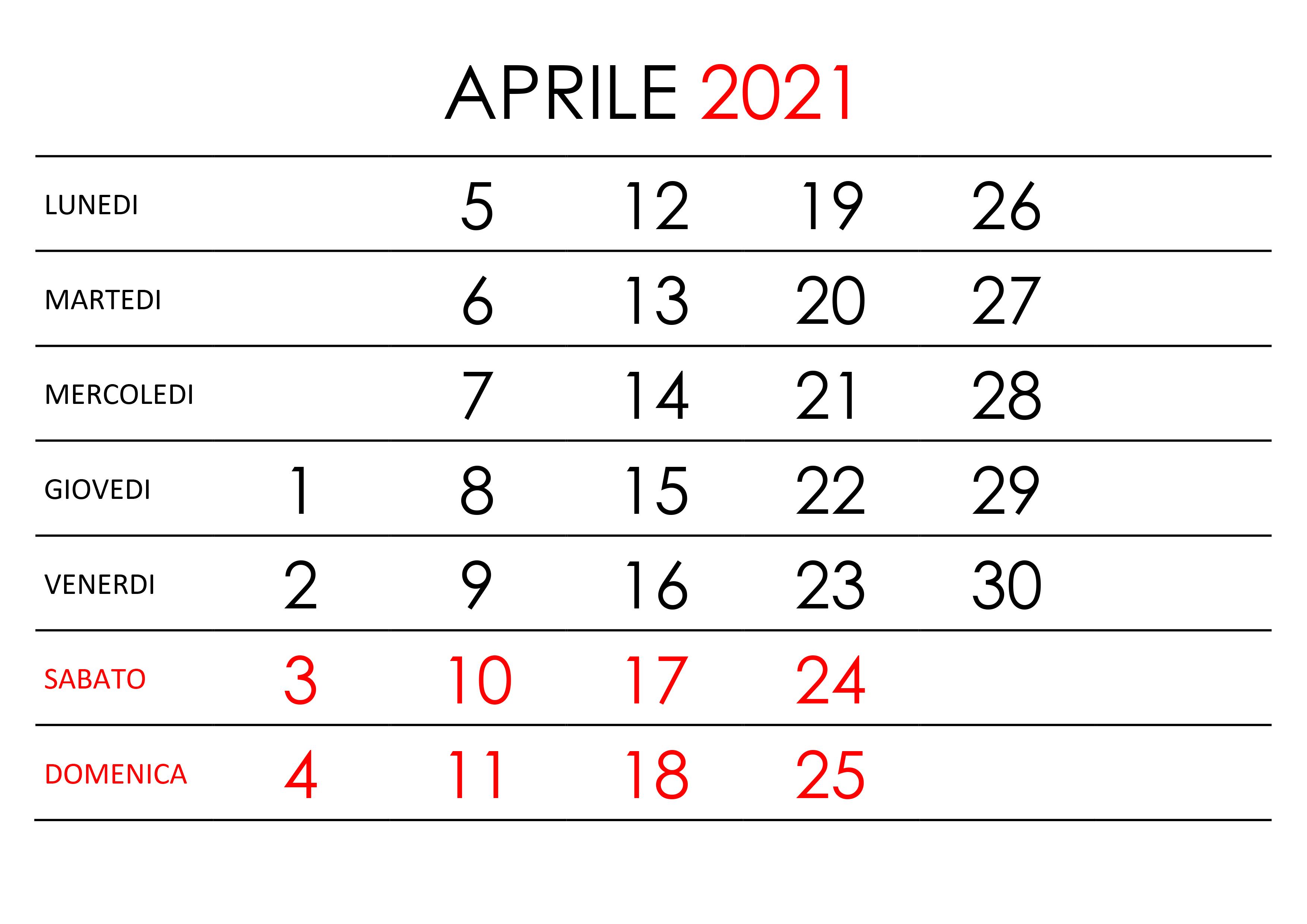 Calendario Aprile 2021 Verticale Calendario aprile 2021 – calendario.su