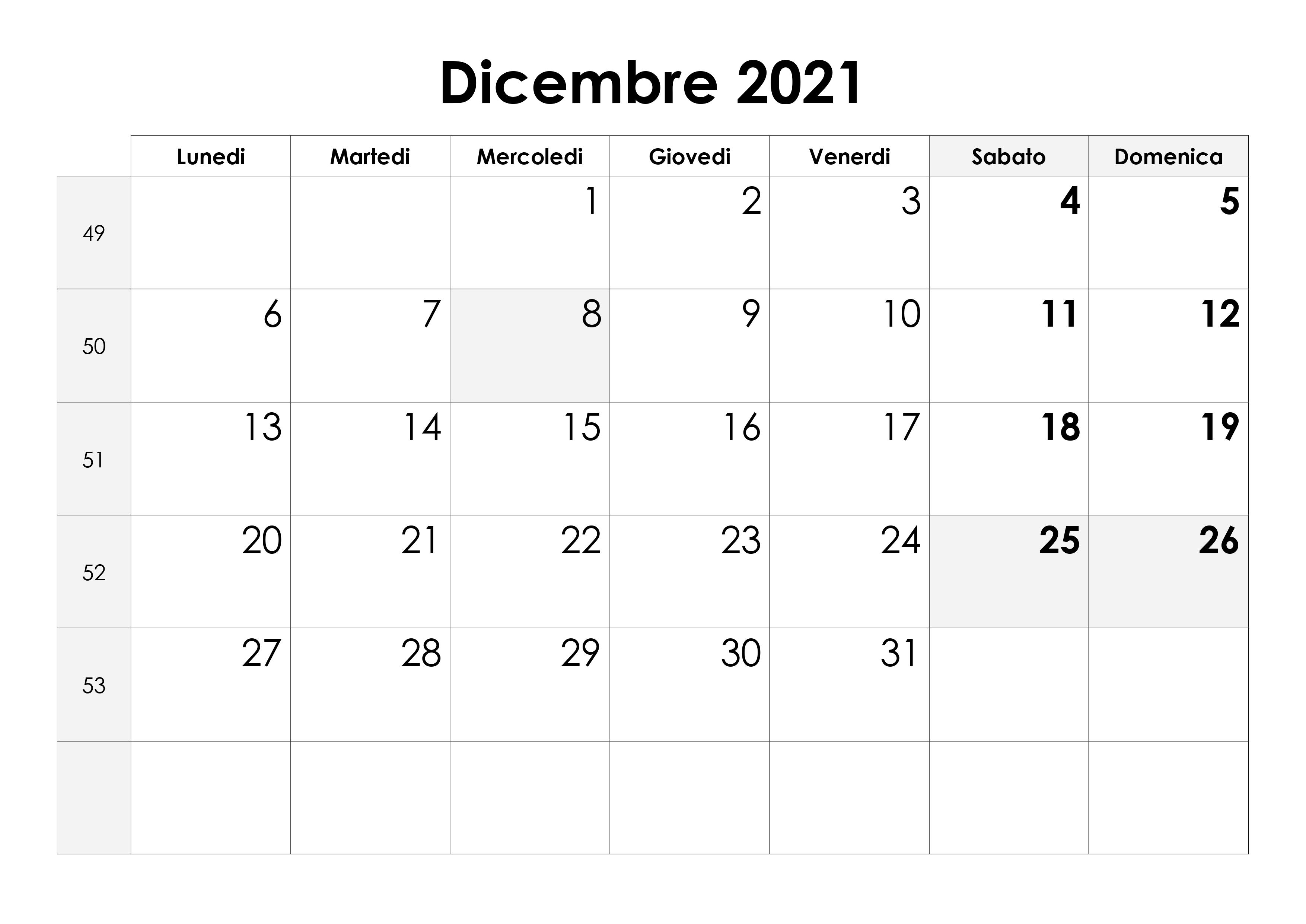 Calendario dicembre 2021 – calendario.su