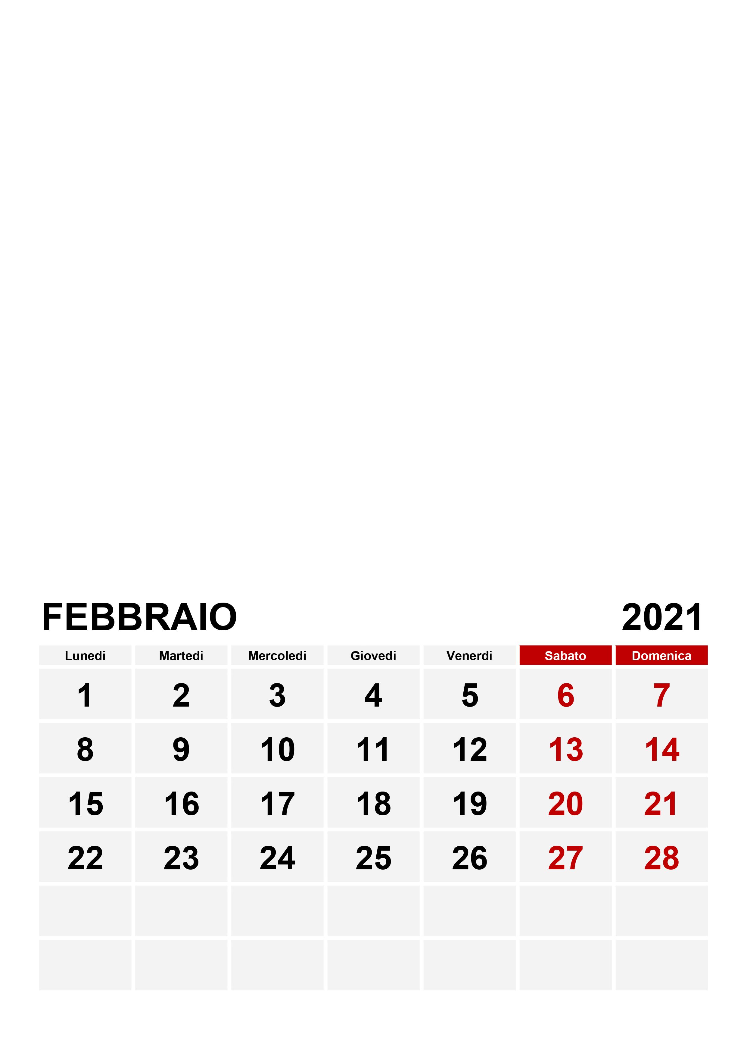 Calendario febbraio 2021 – calendario.su