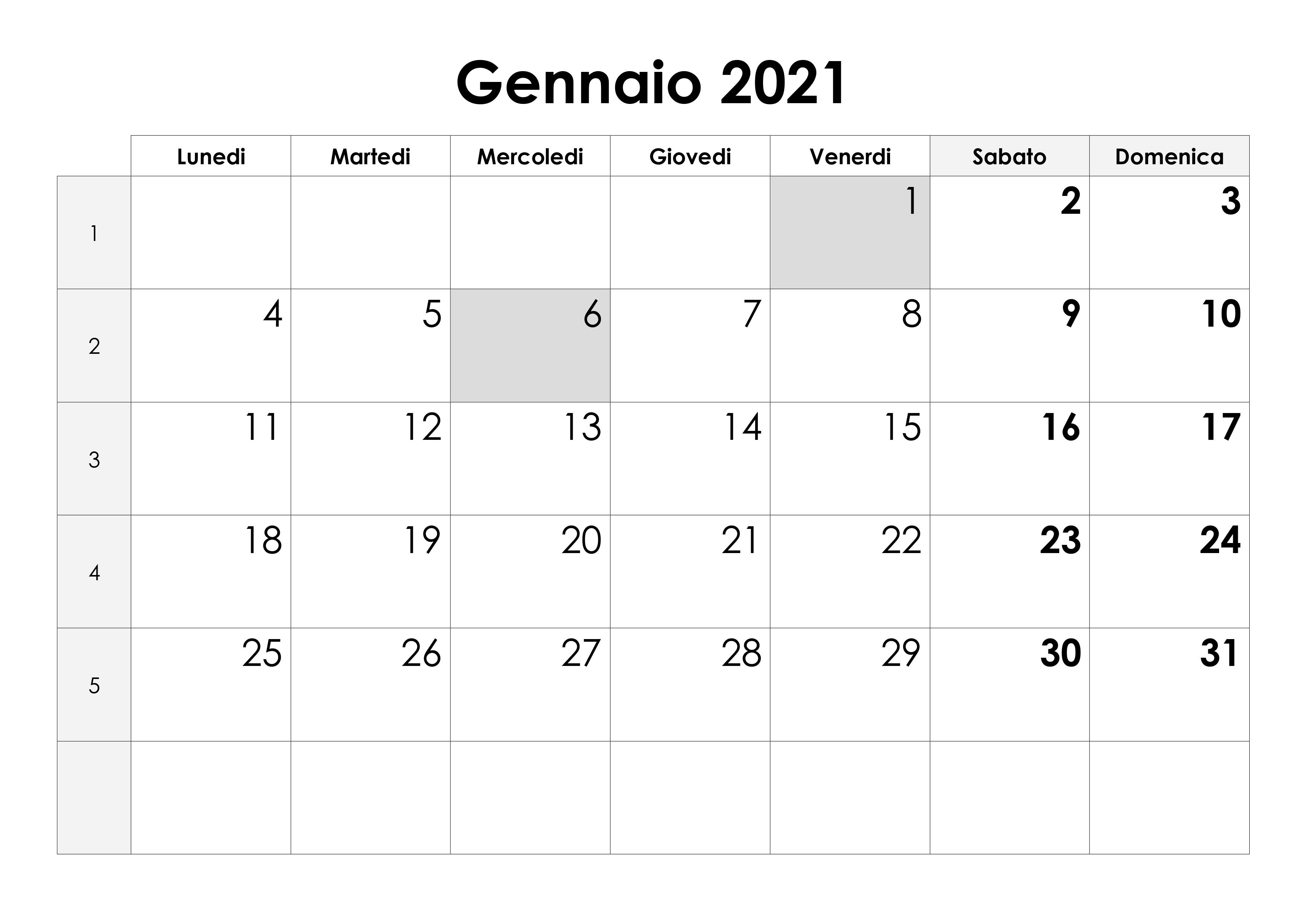 Calendario gennaio 2021 – calendario.su