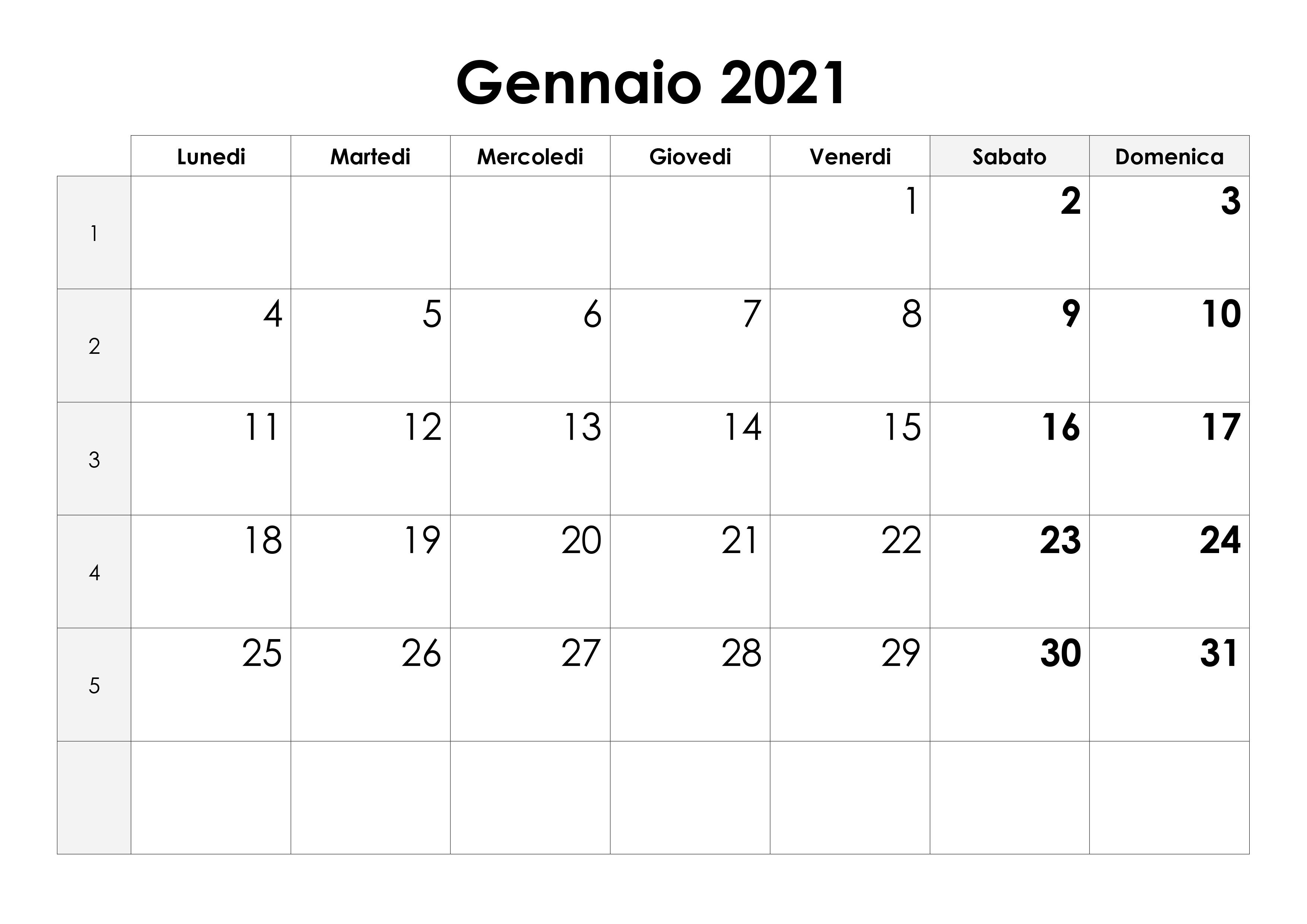 Calendario Vuoto Gennaio 2021 Calendario gennaio 2021 – calendario.su
