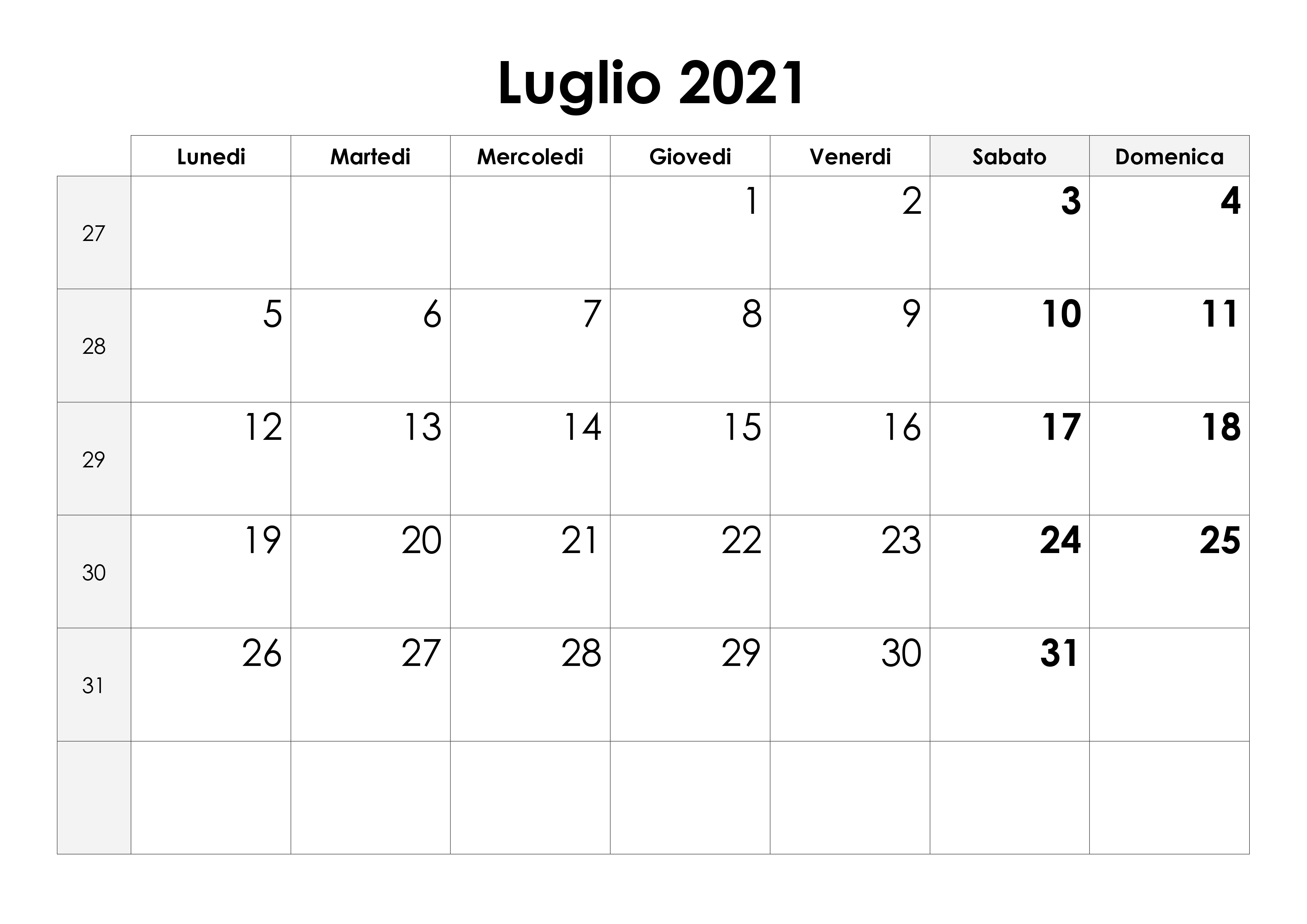 Calendario luglio 2021 – calendario.su