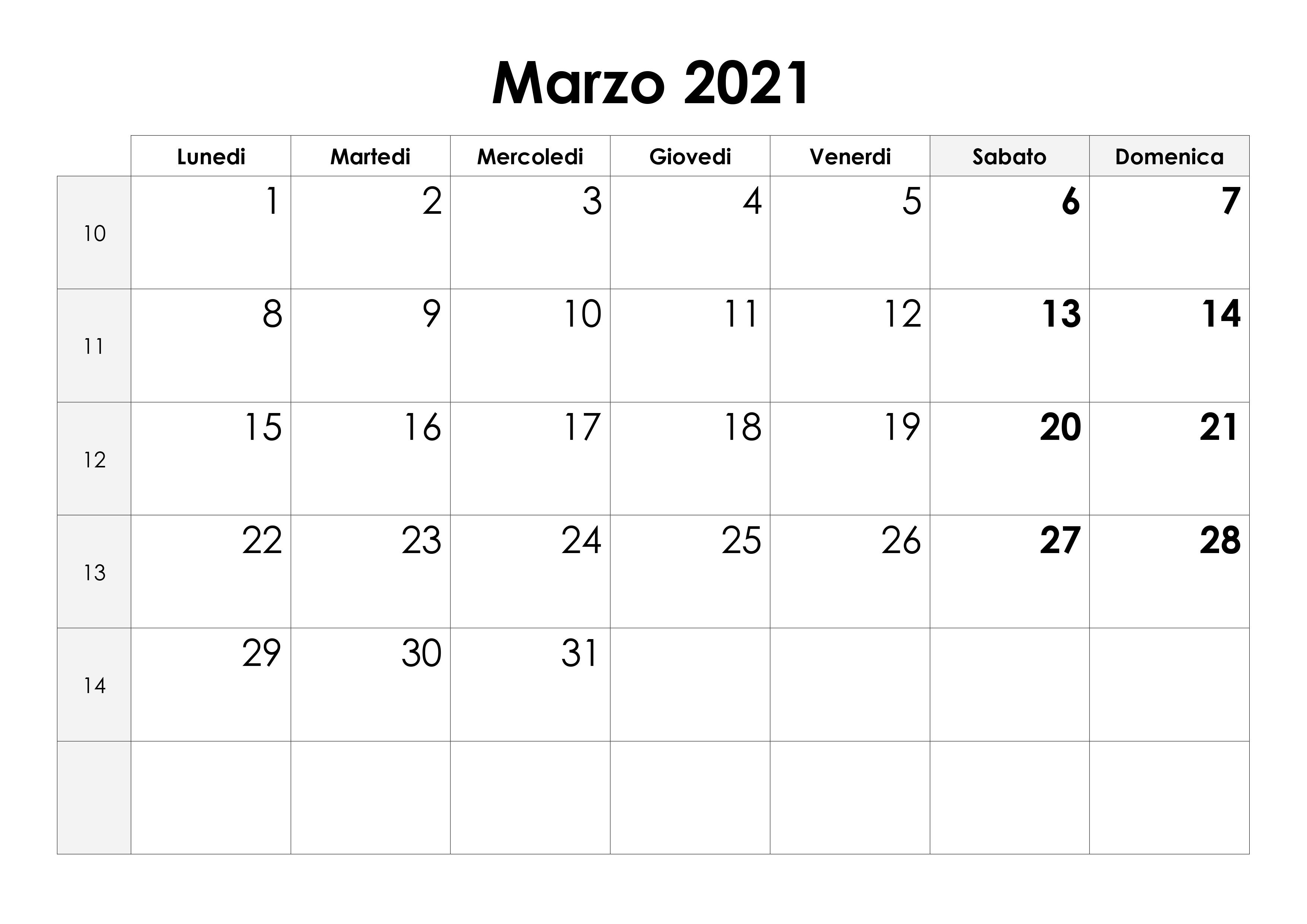 Calendario Marzo 2021 Stampabile Calendario marzo 2021 – calendario.su