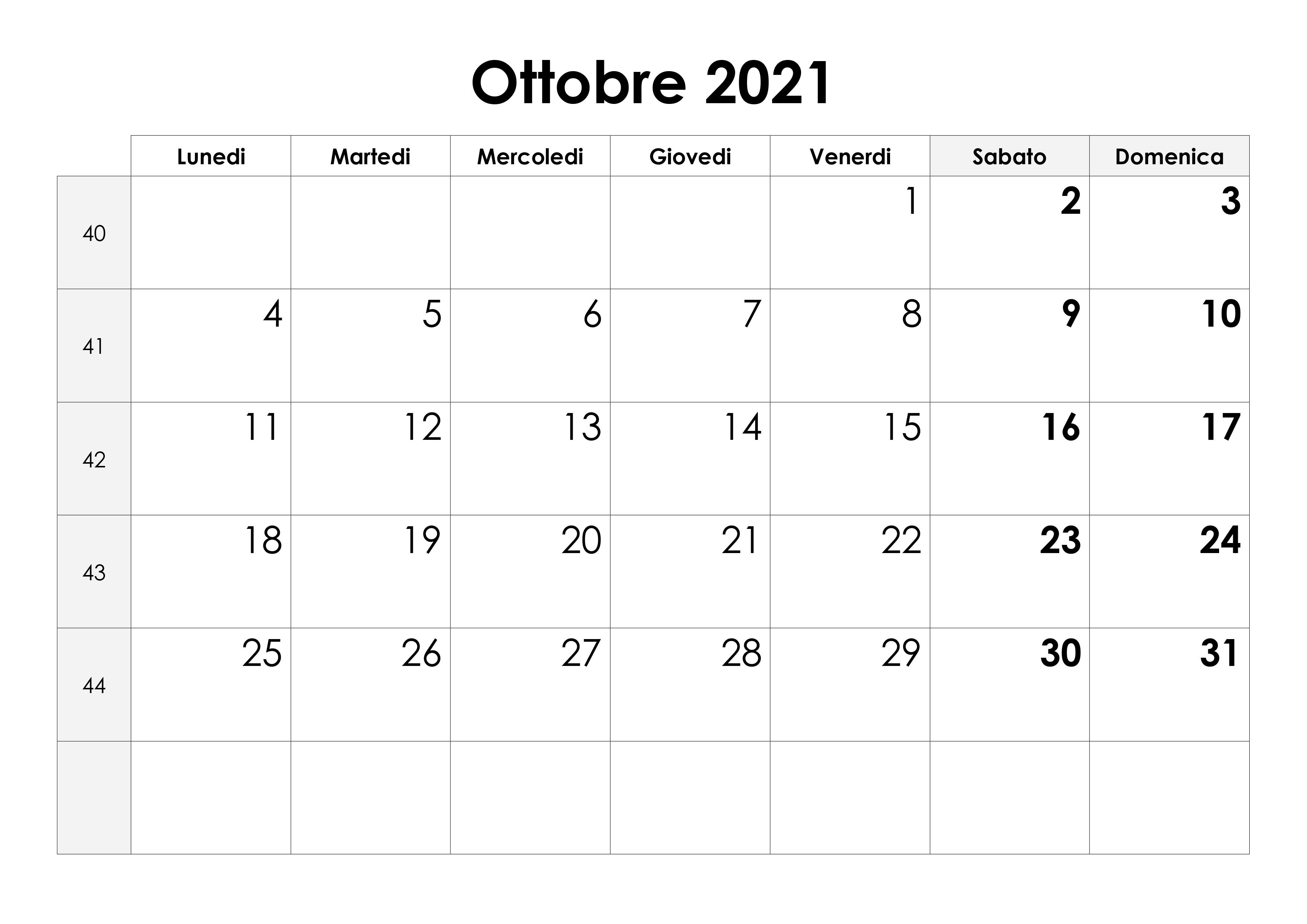 Calendario 2021 Ottobre Novembre Calendario ottobre 2021 – calendario.su